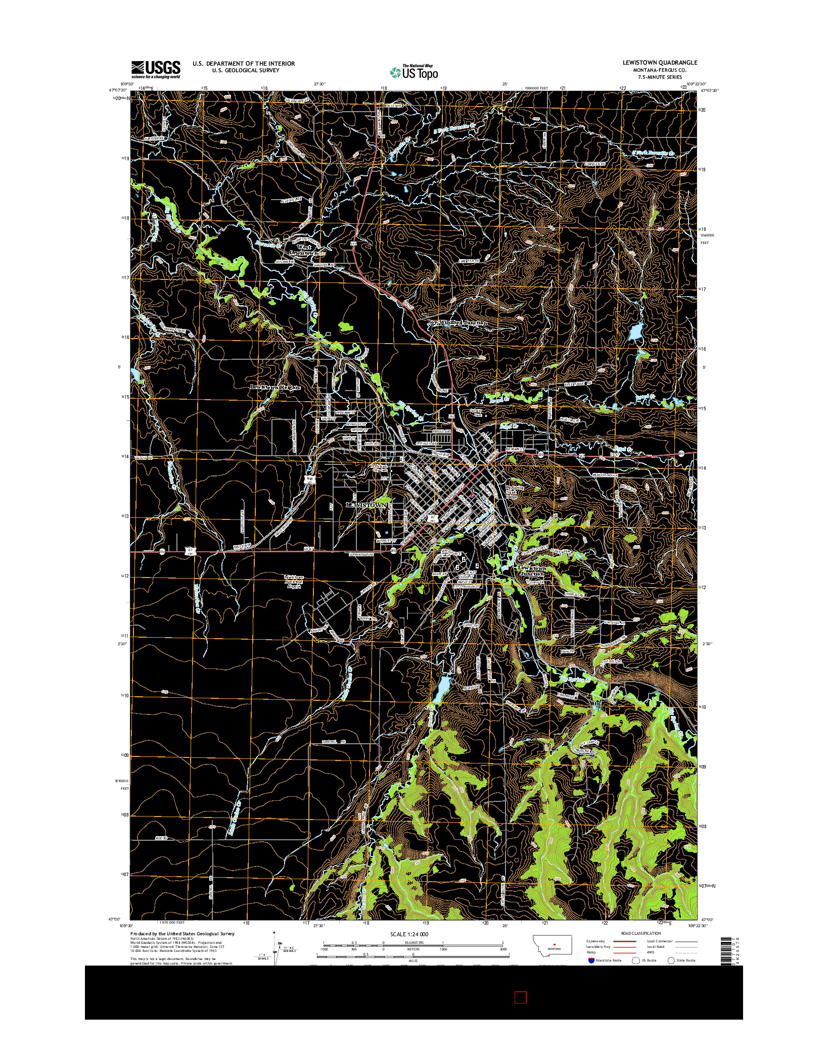 USGS US TOPO 7.5-MINUTE MAP FOR LEWISTOWN, MT 2014