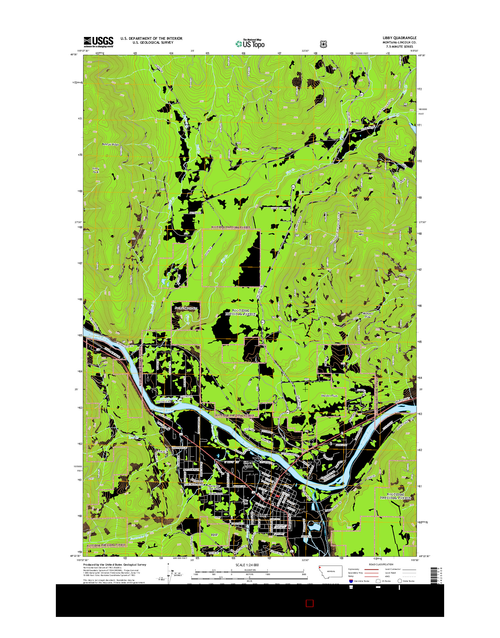USGS US TOPO 7.5-MINUTE MAP FOR LIBBY, MT 2014