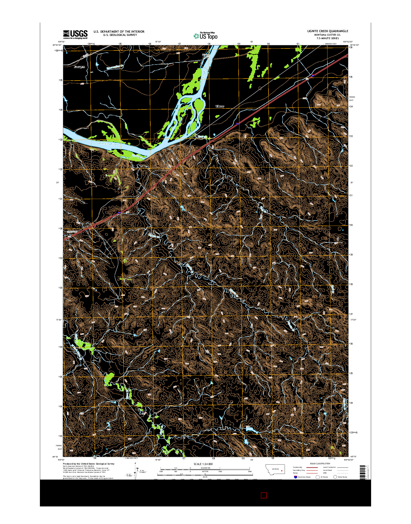 USGS US TOPO 7.5-MINUTE MAP FOR LIGNITE CREEK, MT 2014