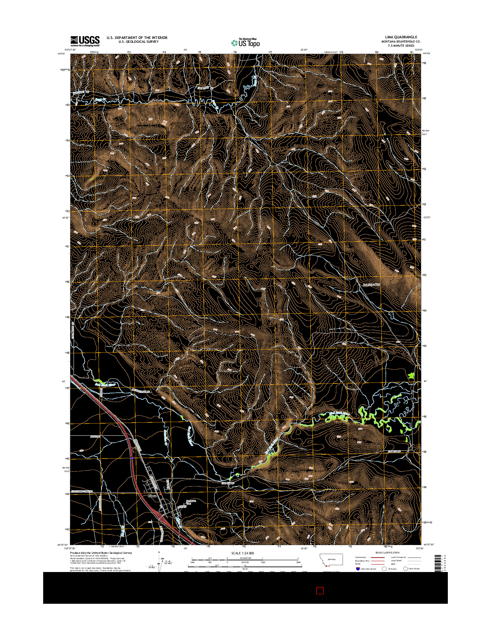 USGS US TOPO 7.5-MINUTE MAP FOR LIMA, MT 2014