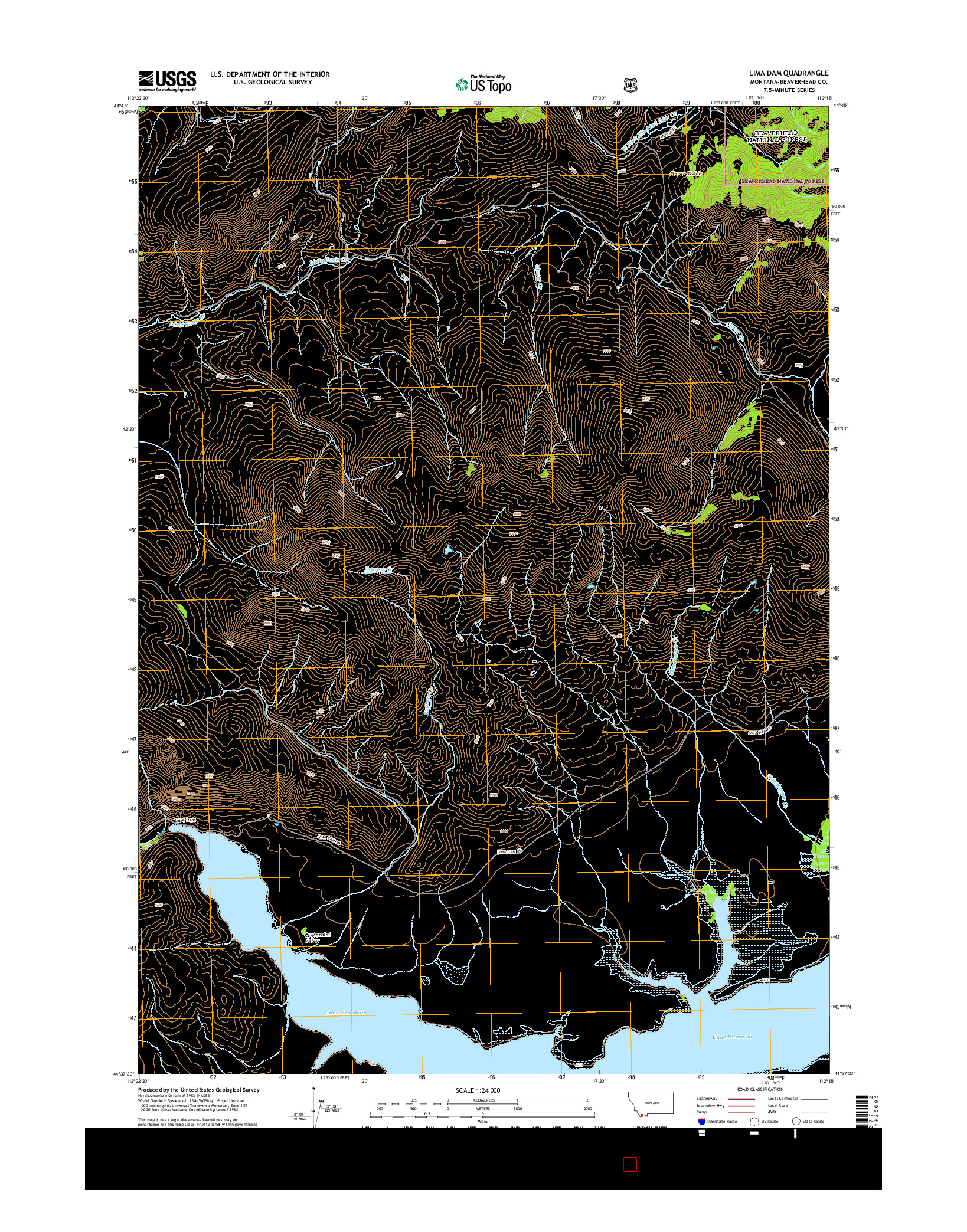 USGS US TOPO 7.5-MINUTE MAP FOR LIMA DAM, MT 2014