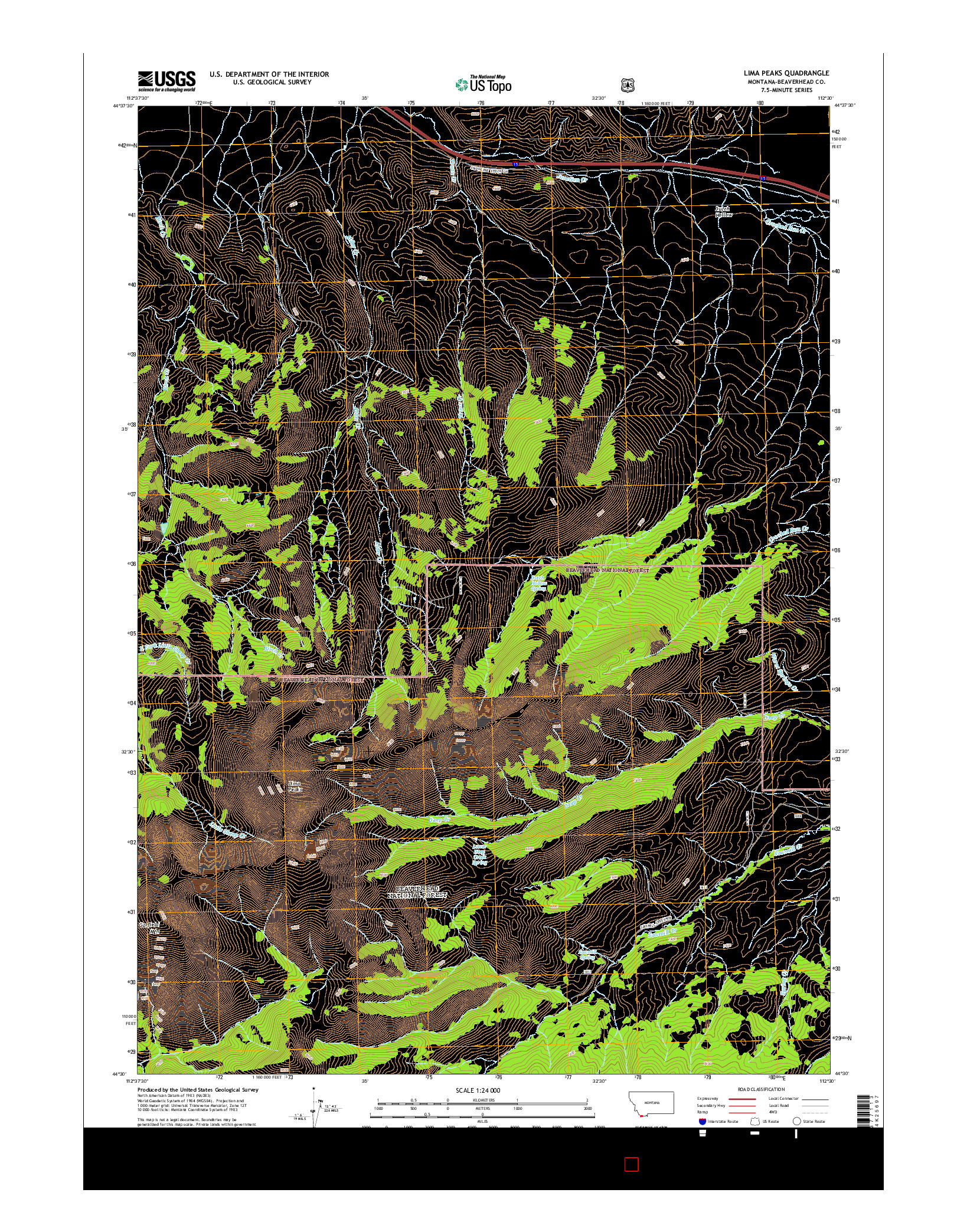 USGS US TOPO 7.5-MINUTE MAP FOR LIMA PEAKS, MT 2014