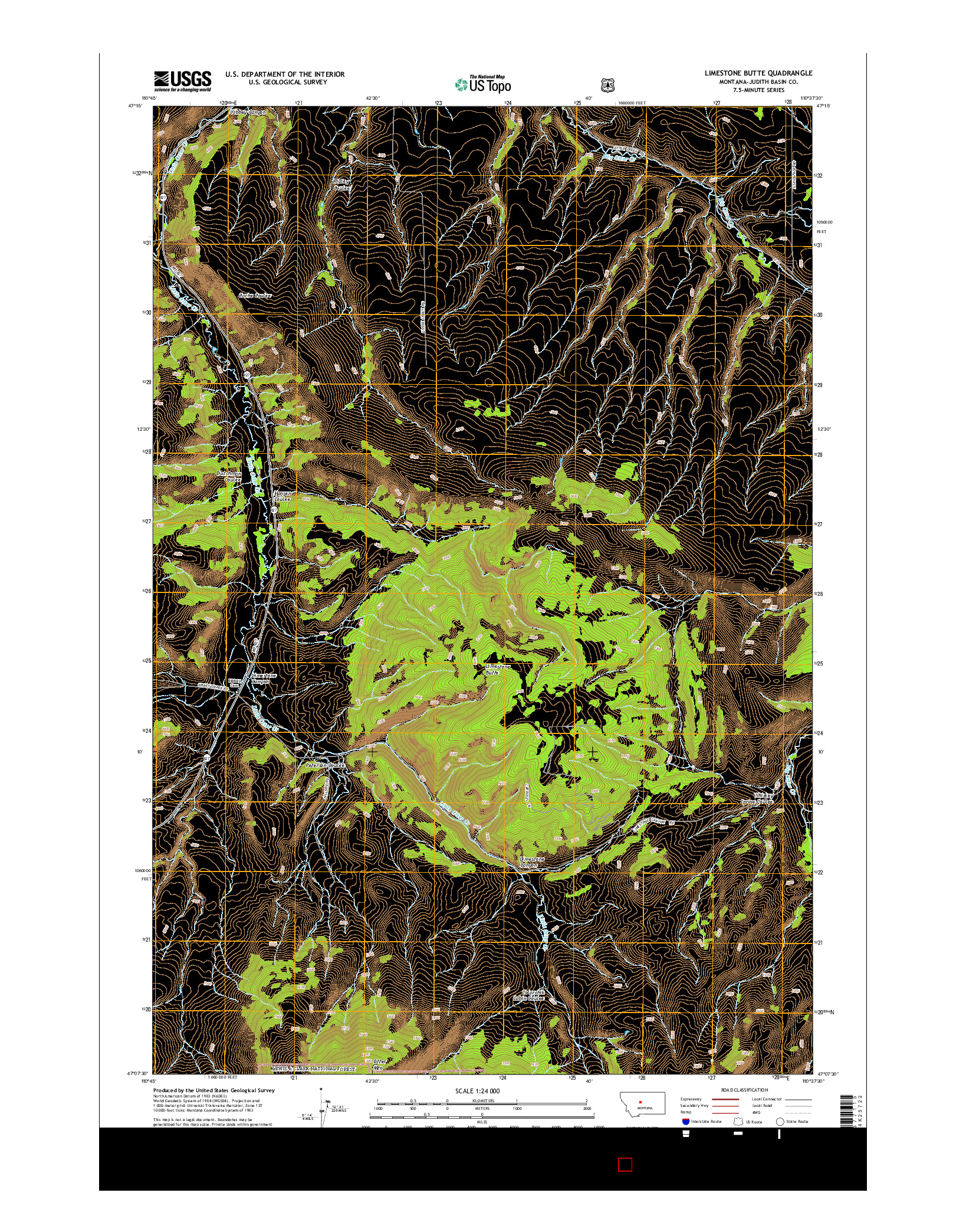 USGS US TOPO 7.5-MINUTE MAP FOR LIMESTONE BUTTE, MT 2014