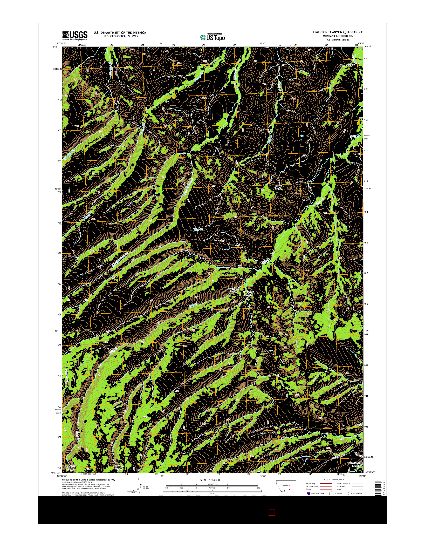 USGS US TOPO 7.5-MINUTE MAP FOR LIMESTONE CANYON, MT 2014