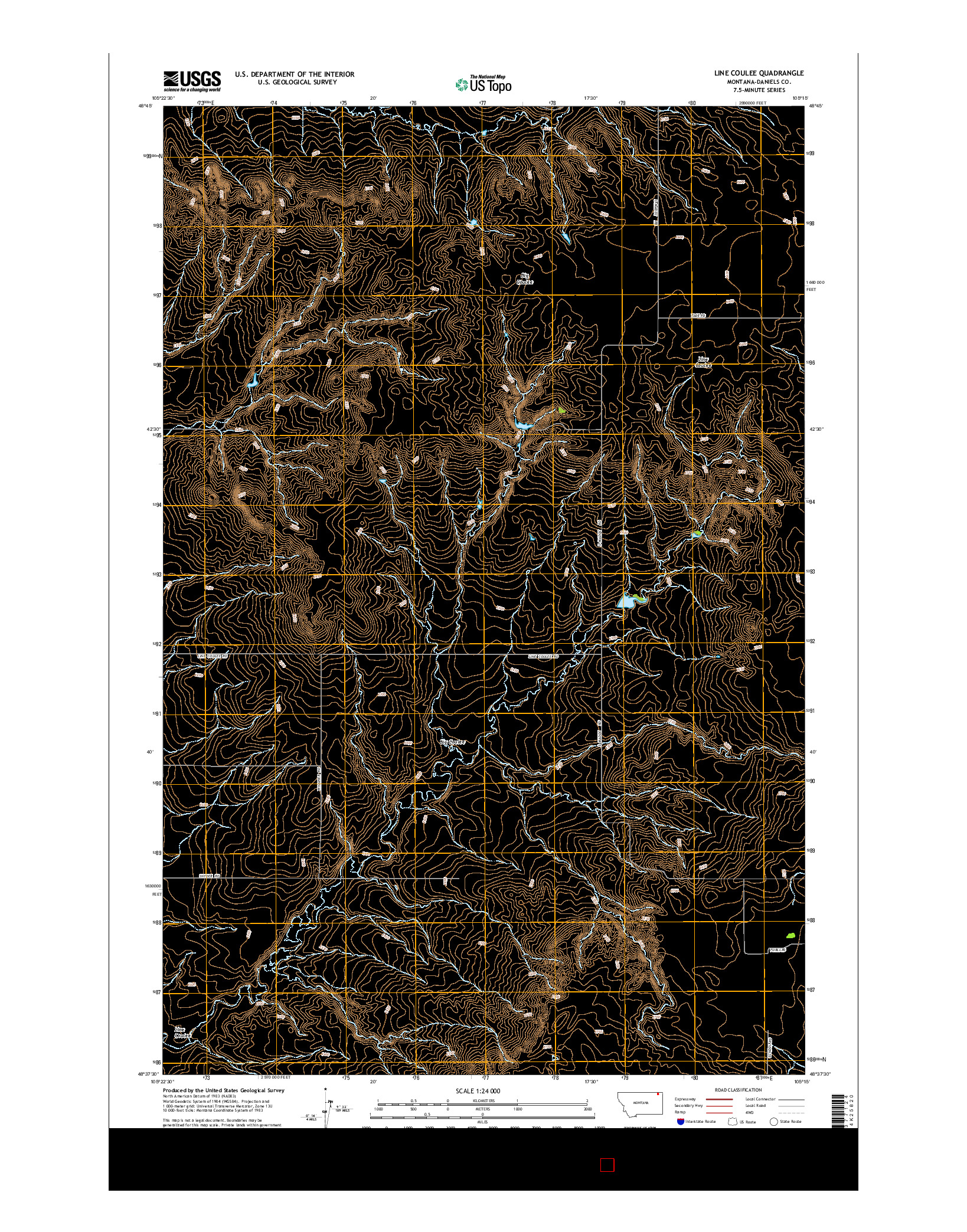 USGS US TOPO 7.5-MINUTE MAP FOR LINE COULEE, MT 2014