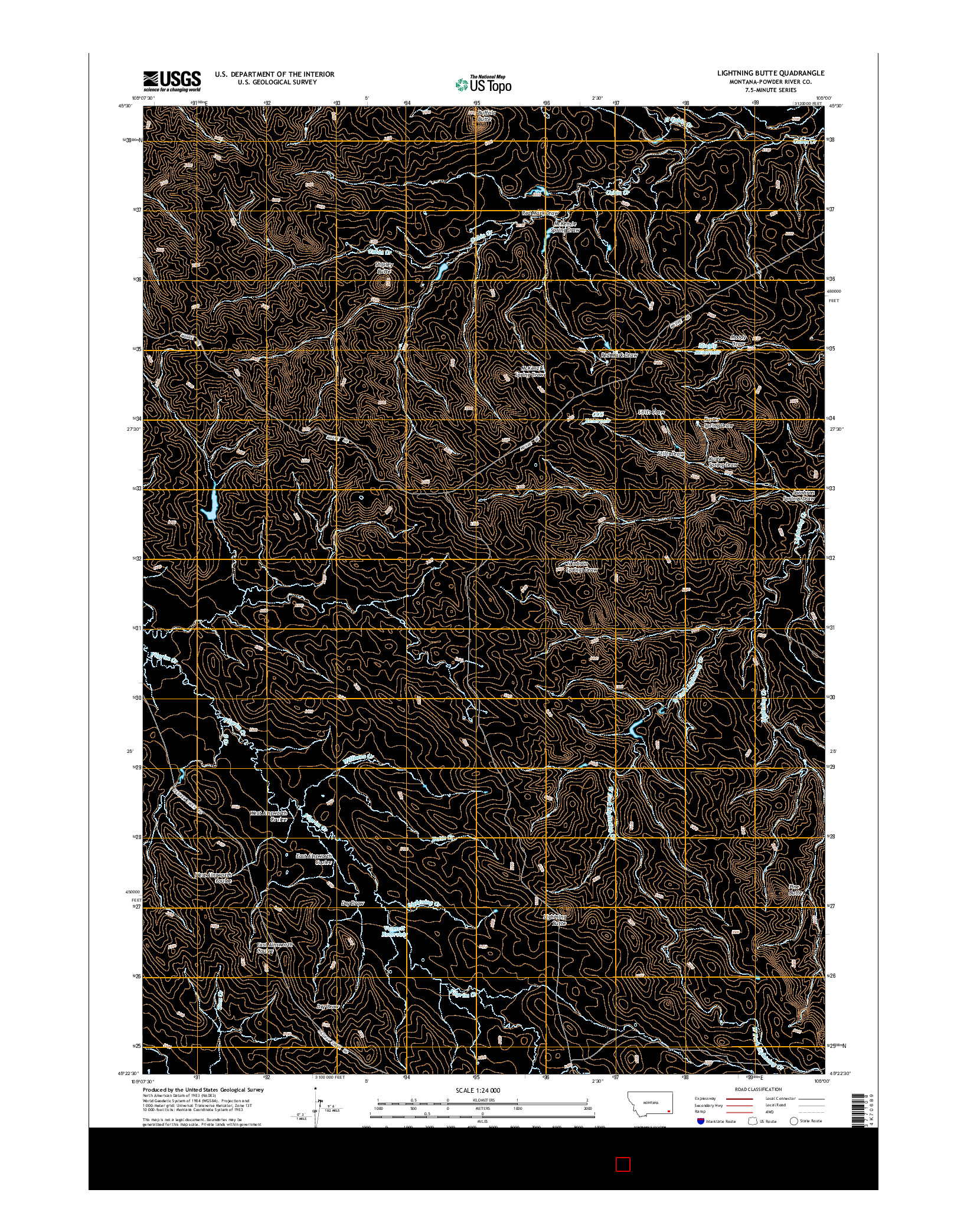 USGS US TOPO 7.5-MINUTE MAP FOR LIGHTNING BUTTE, MT 2014