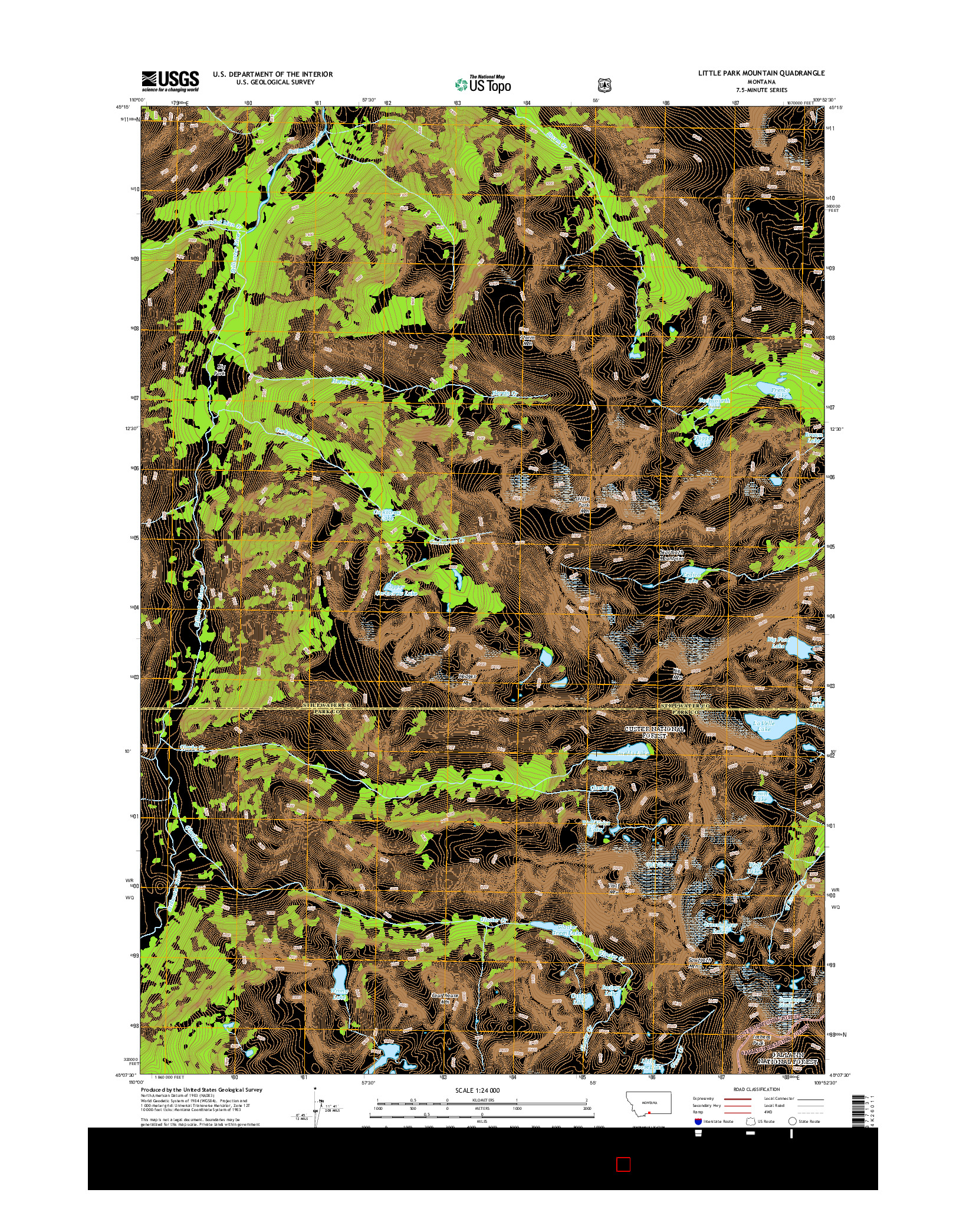 USGS US TOPO 7.5-MINUTE MAP FOR LITTLE PARK MOUNTAIN, MT 2014
