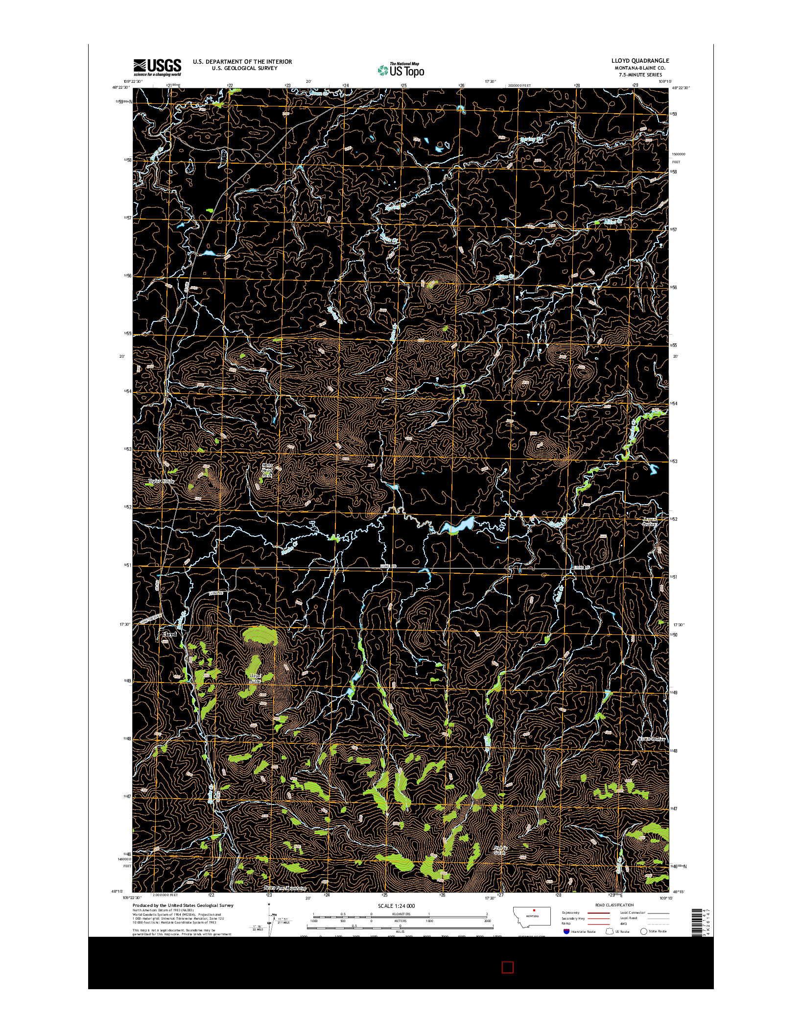 USGS US TOPO 7.5-MINUTE MAP FOR LLOYD, MT 2014