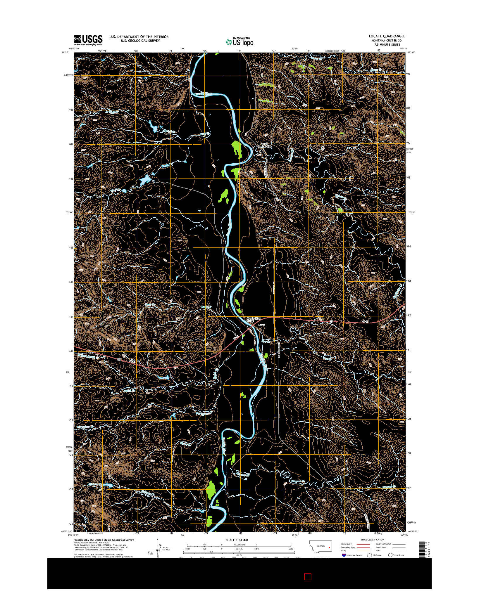 USGS US TOPO 7.5-MINUTE MAP FOR LOCATE, MT 2014