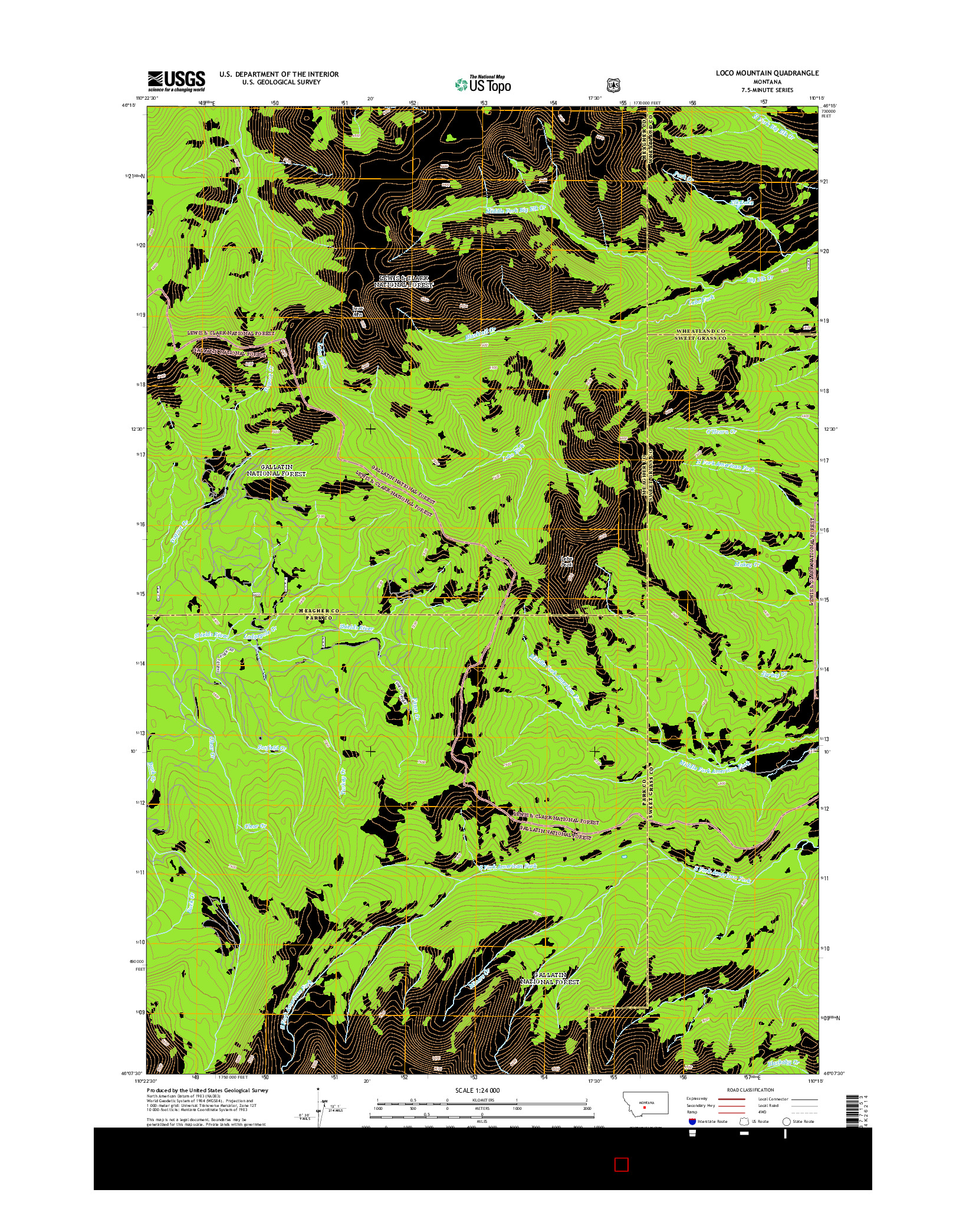 USGS US TOPO 7.5-MINUTE MAP FOR LOCO MOUNTAIN, MT 2014