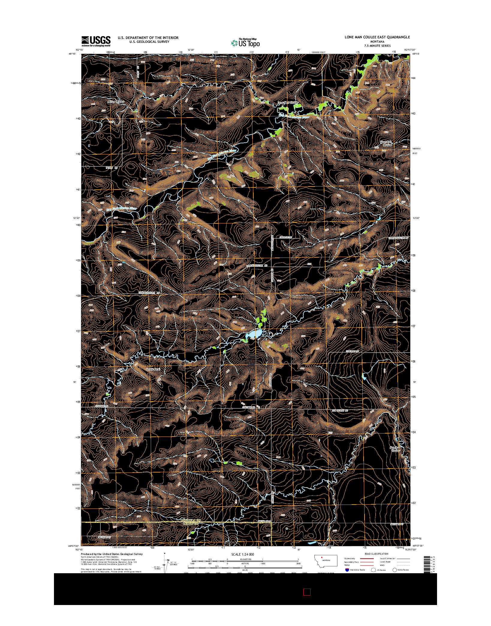 USGS US TOPO 7.5-MINUTE MAP FOR LONE MAN COULEE EAST, MT 2014