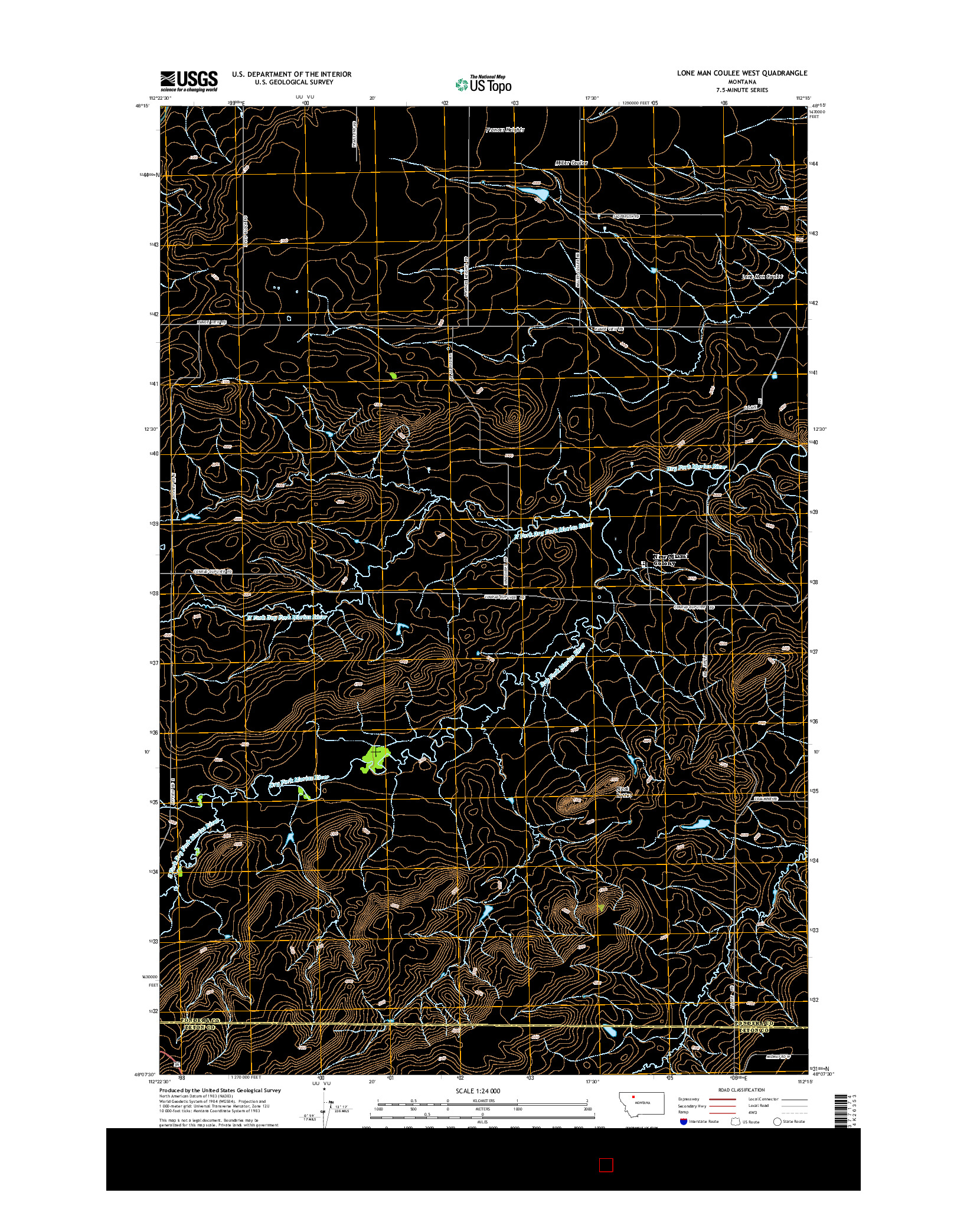 USGS US TOPO 7.5-MINUTE MAP FOR LONE MAN COULEE WEST, MT 2014