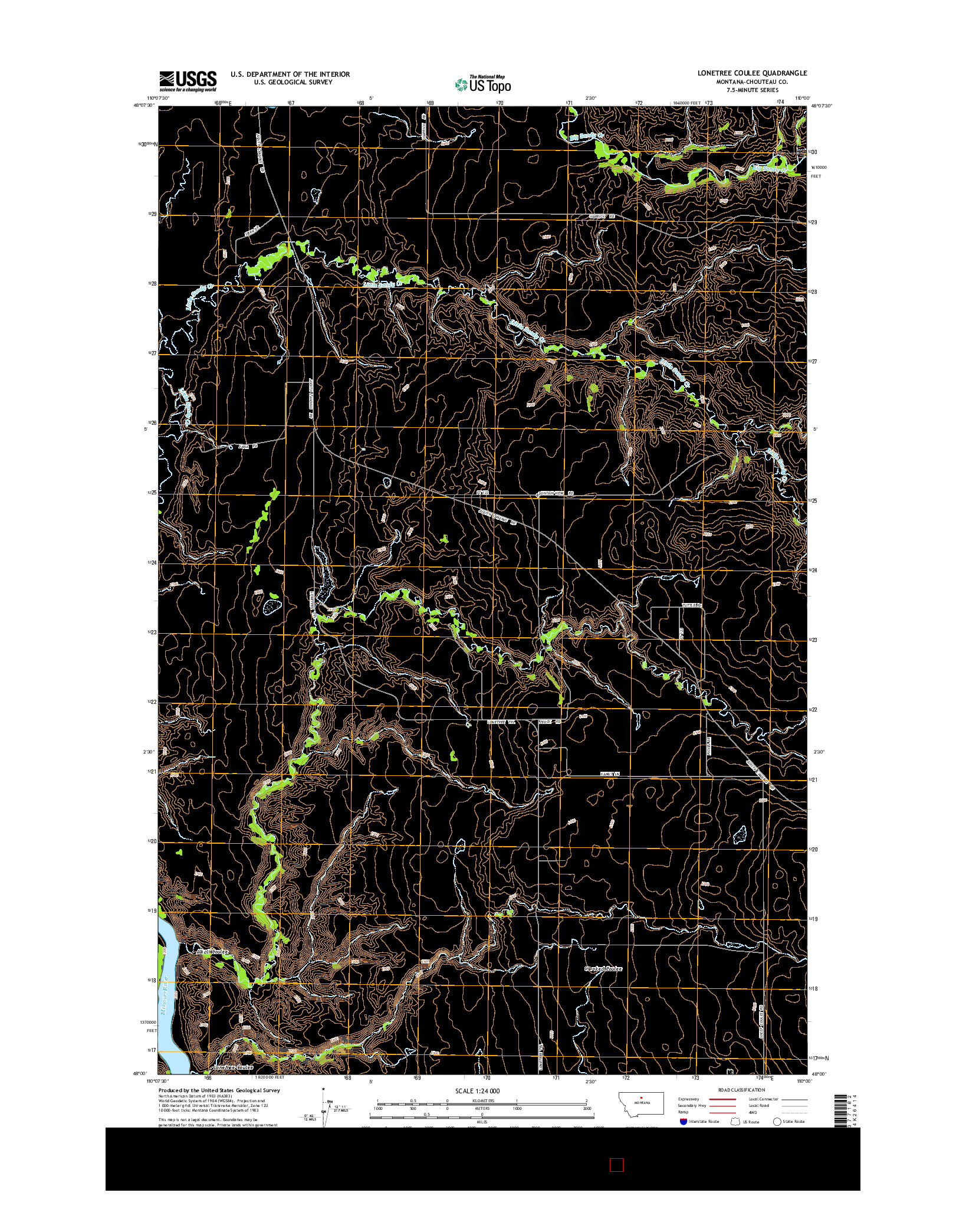 USGS US TOPO 7.5-MINUTE MAP FOR LONETREE COULEE, MT 2014