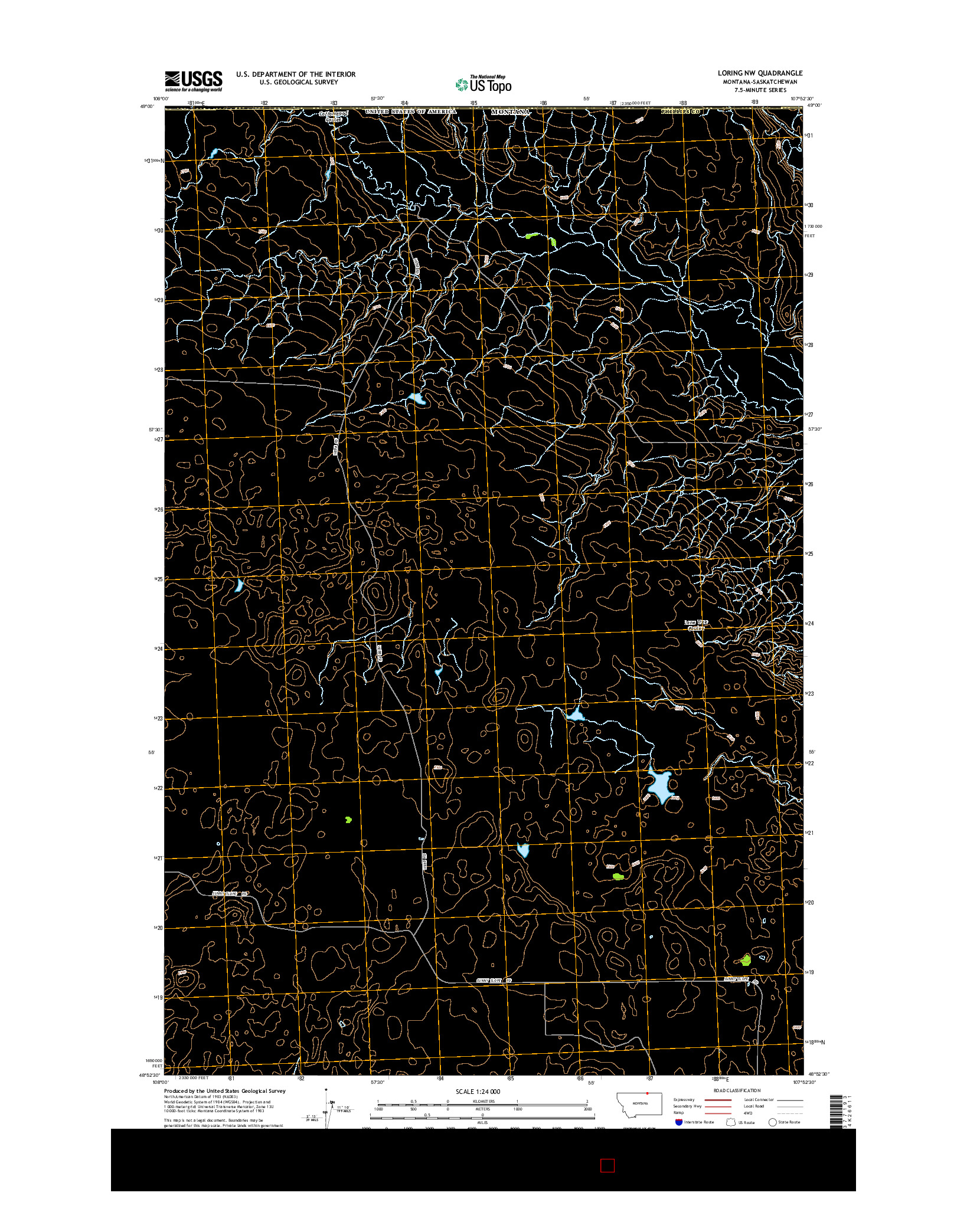 USGS US TOPO 7.5-MINUTE MAP FOR LORING NW, MT-SK 2014