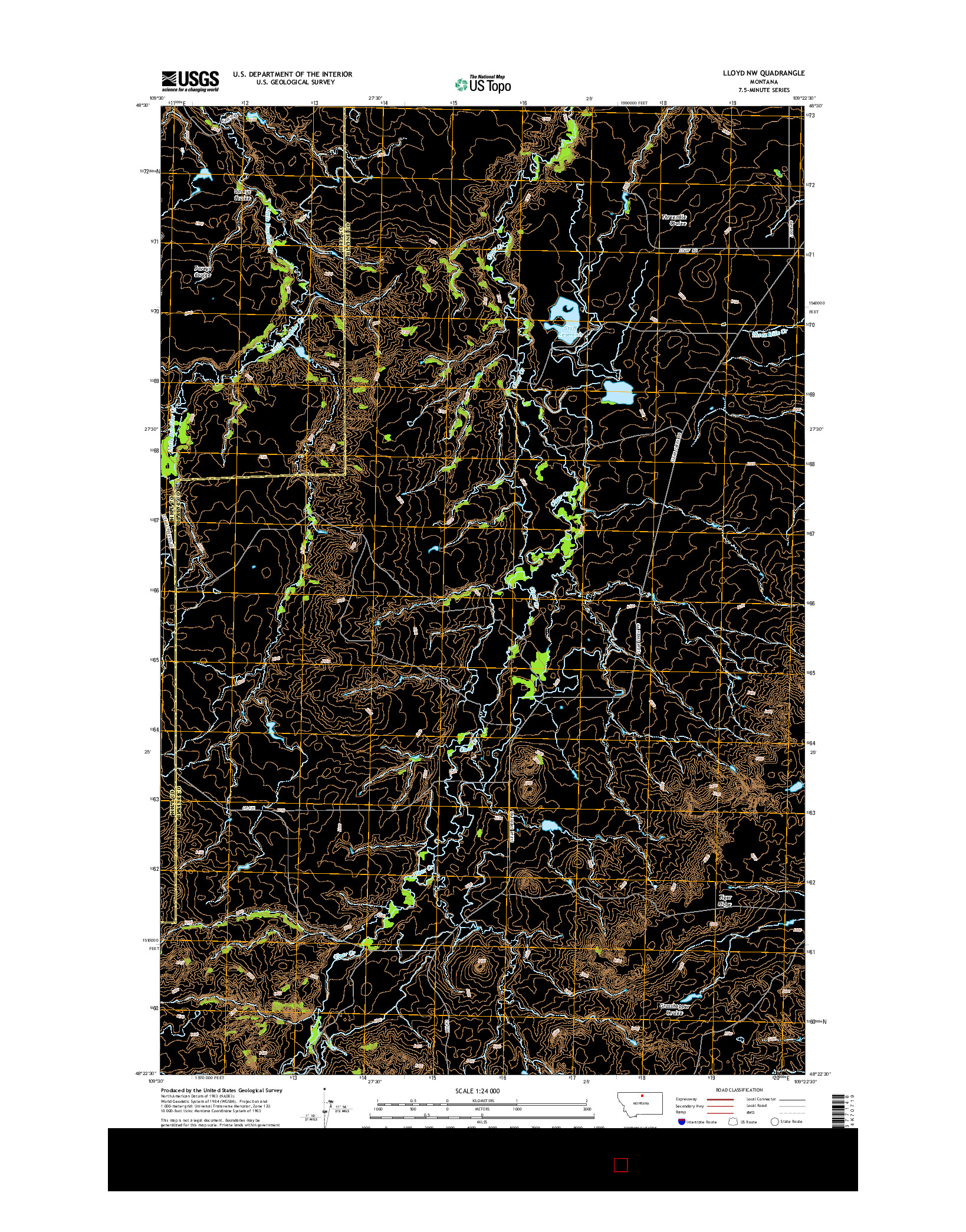 USGS US TOPO 7.5-MINUTE MAP FOR LLOYD NW, MT 2014