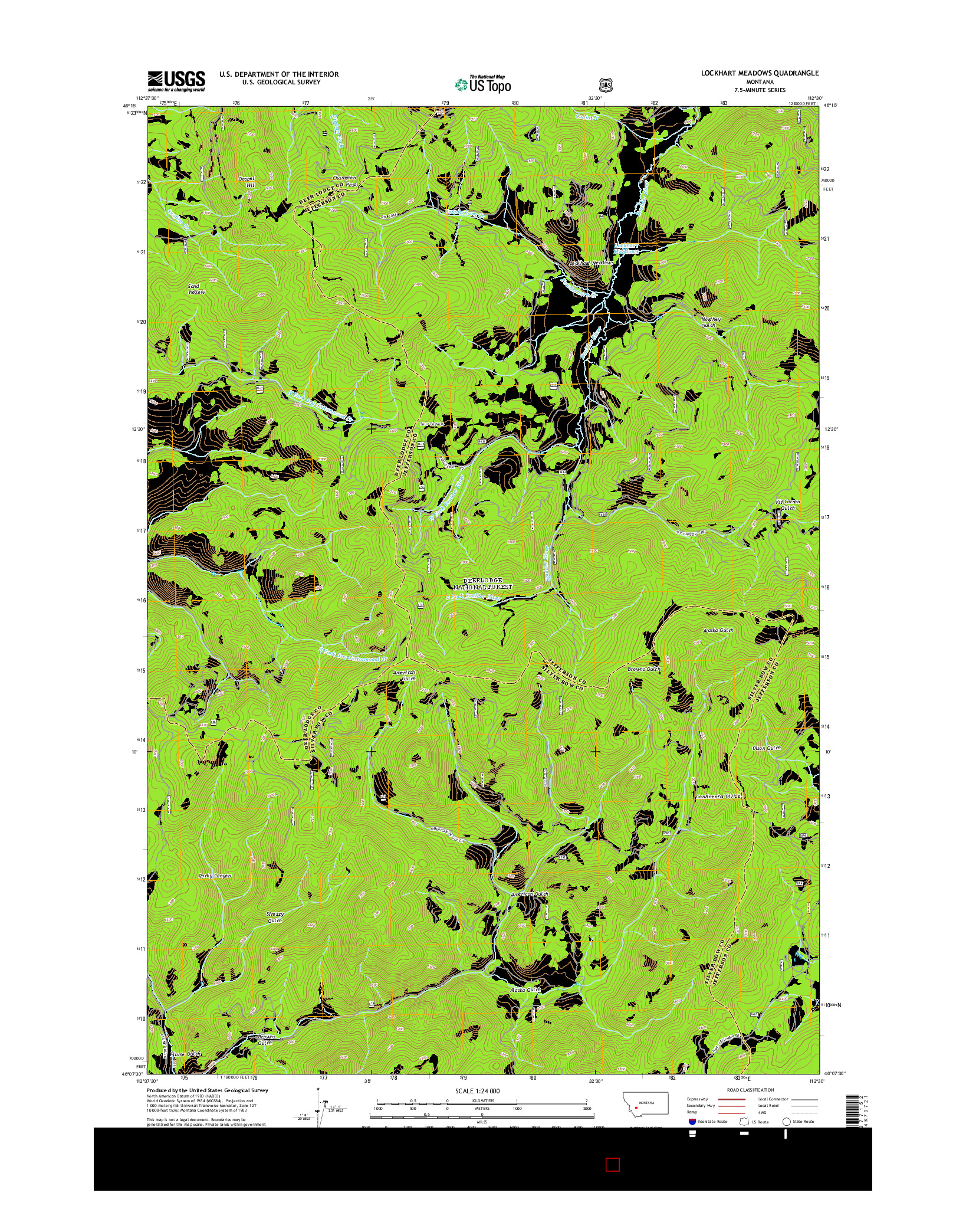USGS US TOPO 7.5-MINUTE MAP FOR LOCKHART MEADOWS, MT 2014