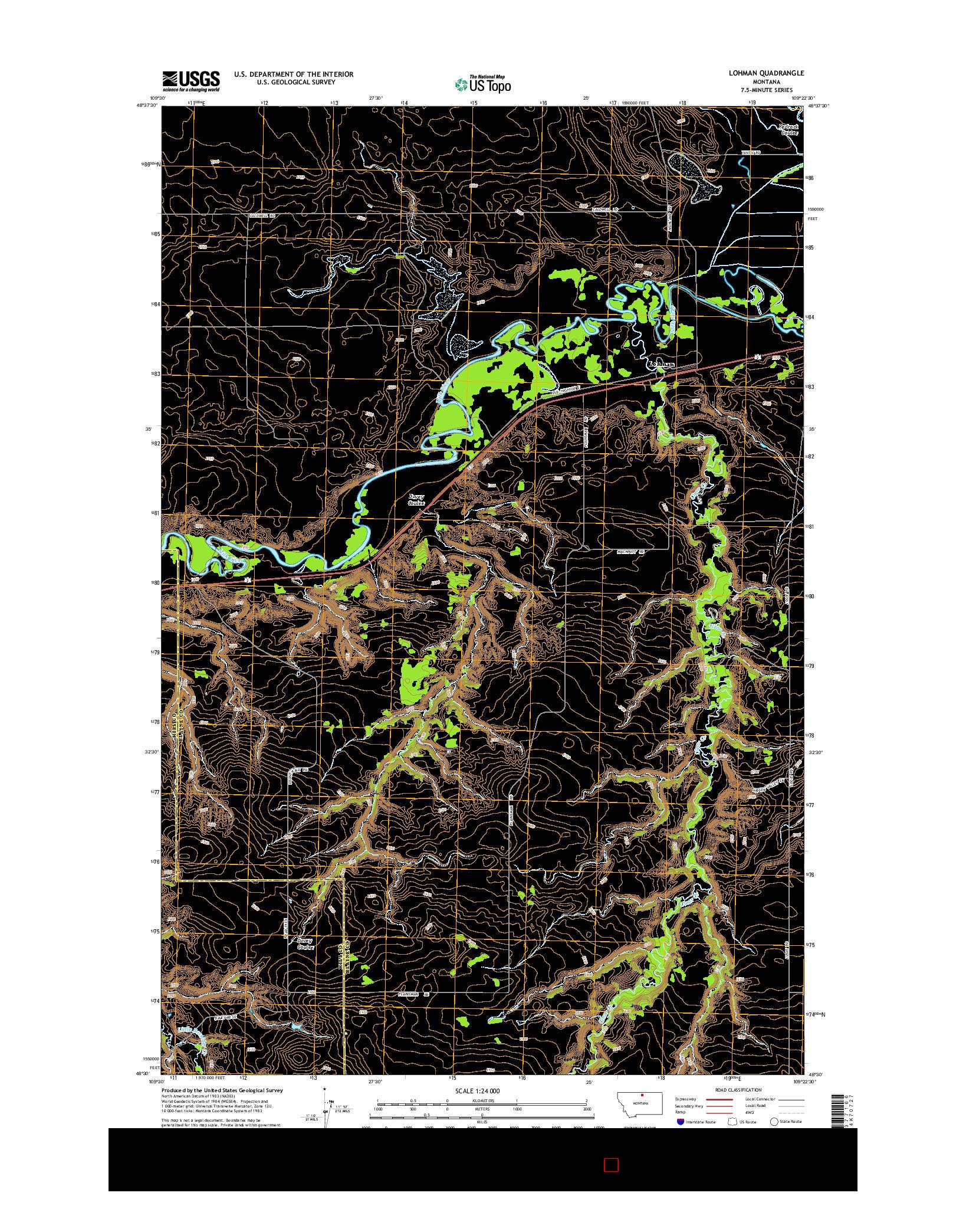 USGS US TOPO 7.5-MINUTE MAP FOR LOHMAN, MT 2014