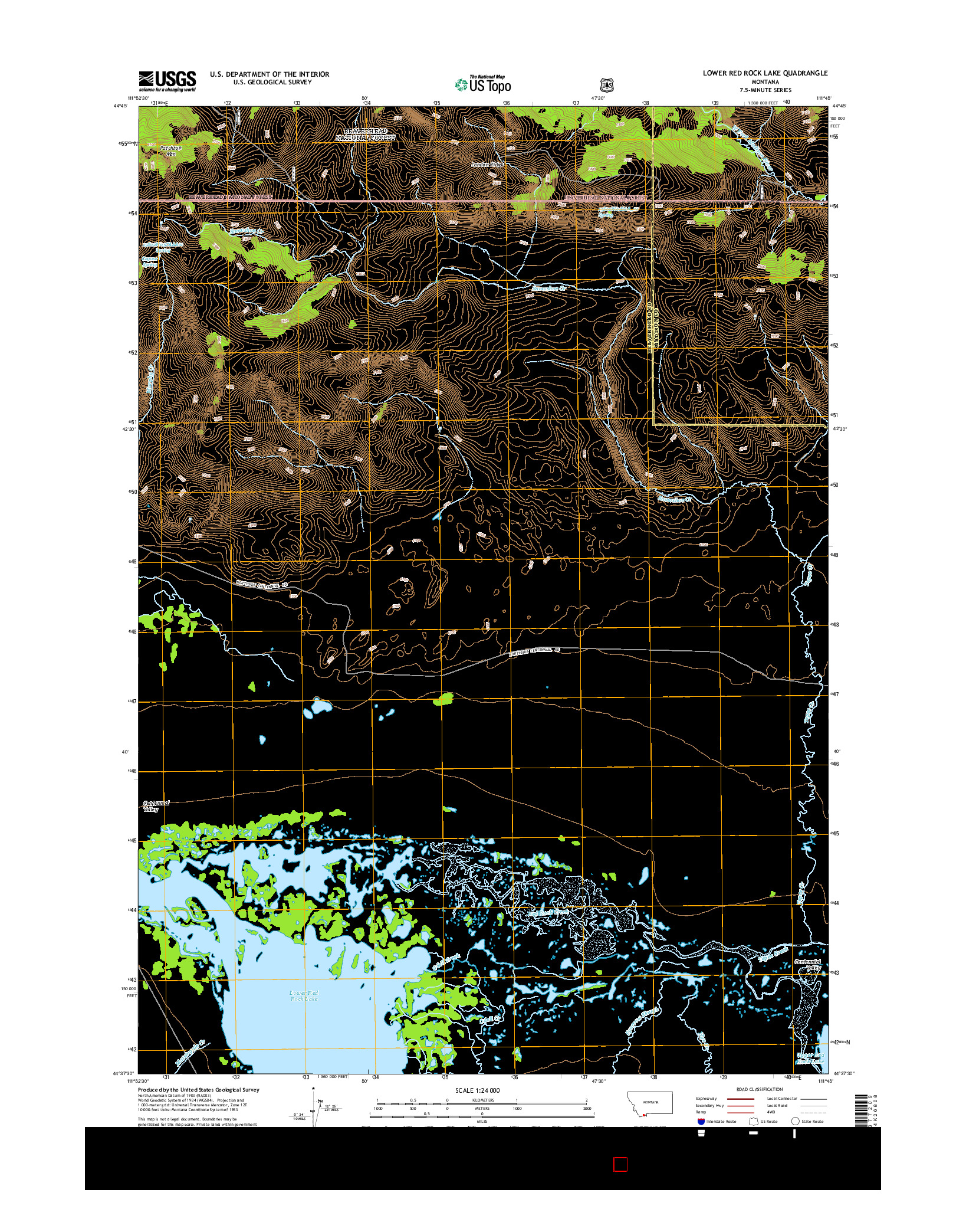 USGS US TOPO 7.5-MINUTE MAP FOR LOWER RED ROCK LAKE, MT 2014