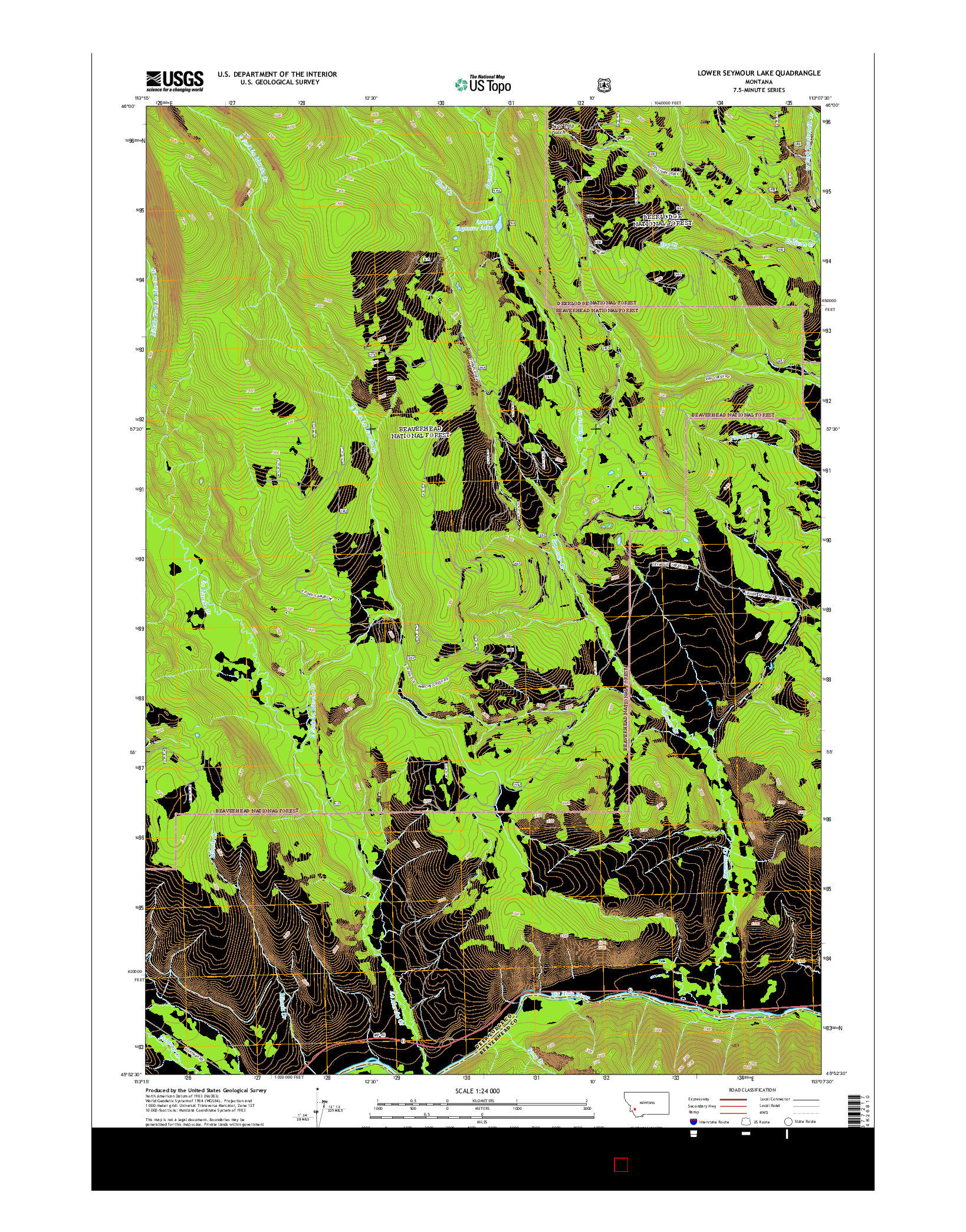 USGS US TOPO 7.5-MINUTE MAP FOR LOWER SEYMOUR LAKE, MT 2014