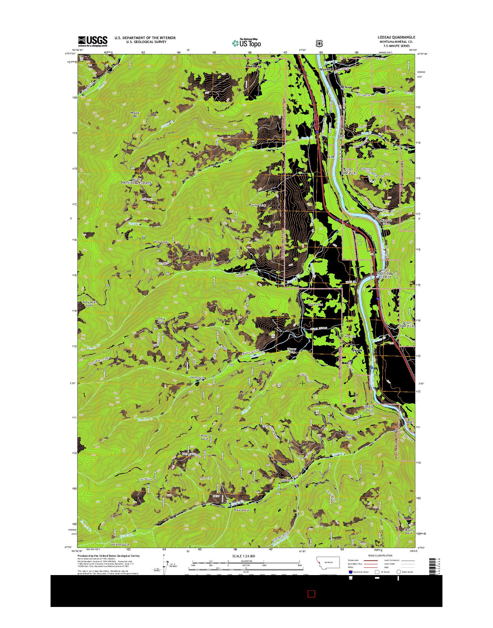 USGS US TOPO 7.5-MINUTE MAP FOR LOZEAU, MT 2014