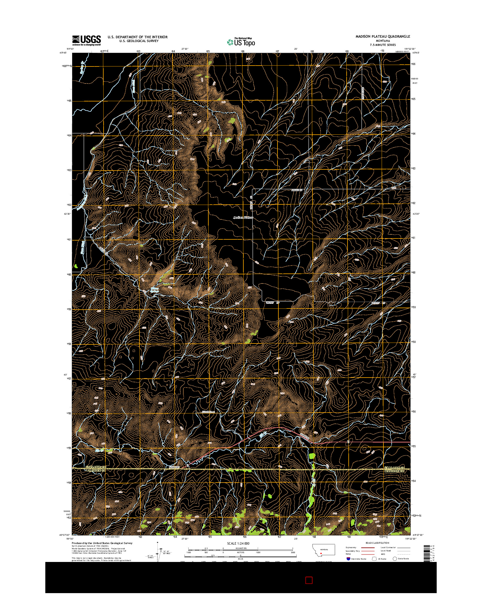 USGS US TOPO 7.5-MINUTE MAP FOR MADISON PLATEAU, MT 2014