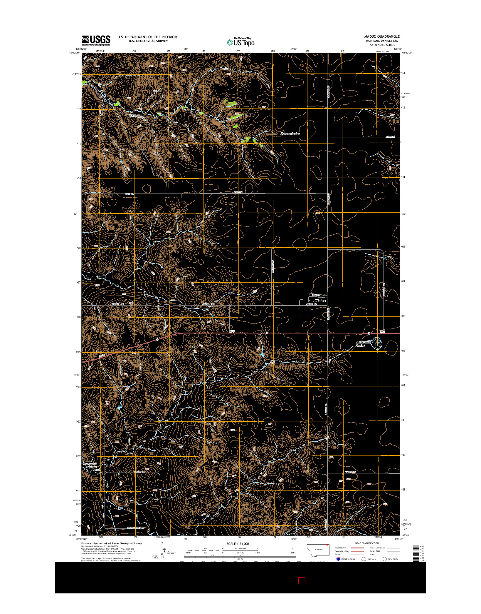 USGS US TOPO 7.5-MINUTE MAP FOR MADOC, MT 2014