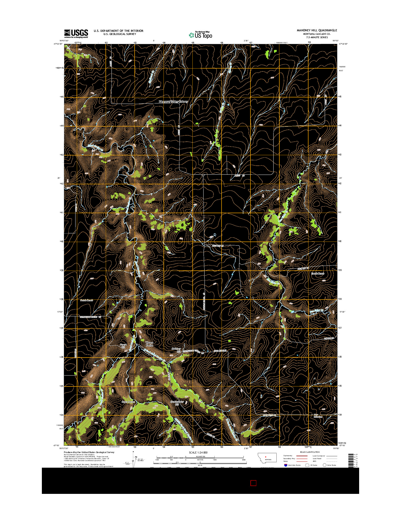USGS US TOPO 7.5-MINUTE MAP FOR MAHONEY HILL, MT 2014