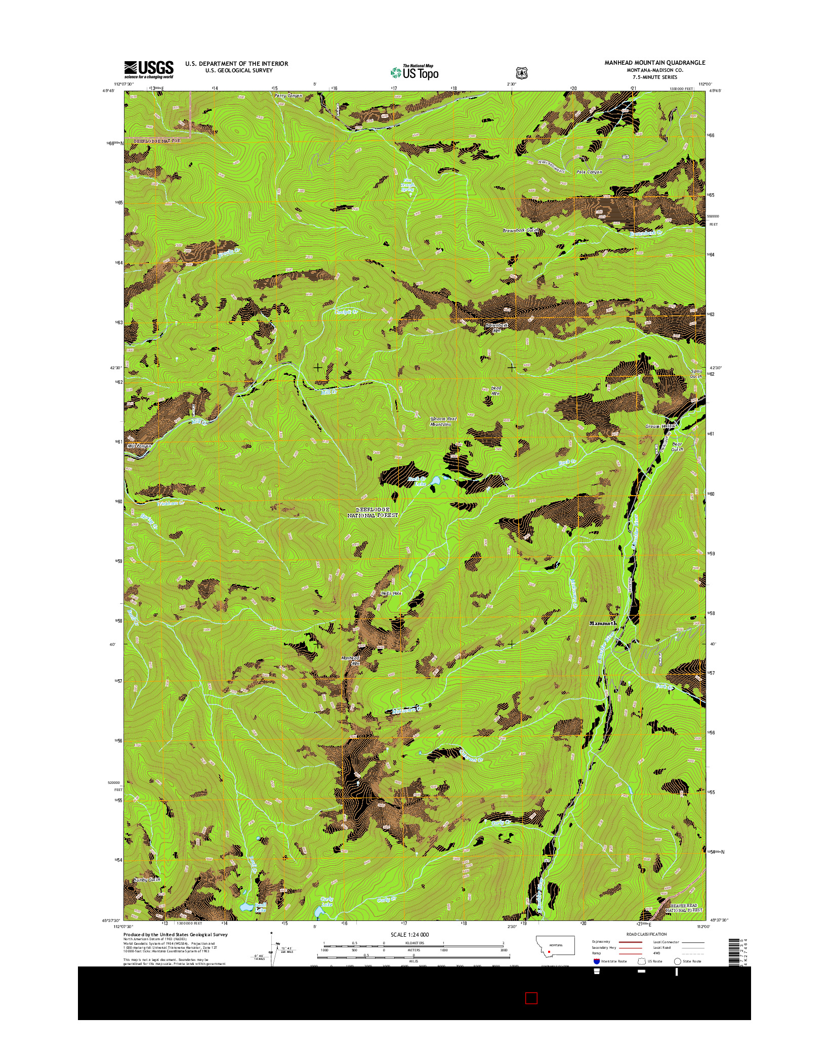 USGS US TOPO 7.5-MINUTE MAP FOR MANHEAD MOUNTAIN, MT 2014