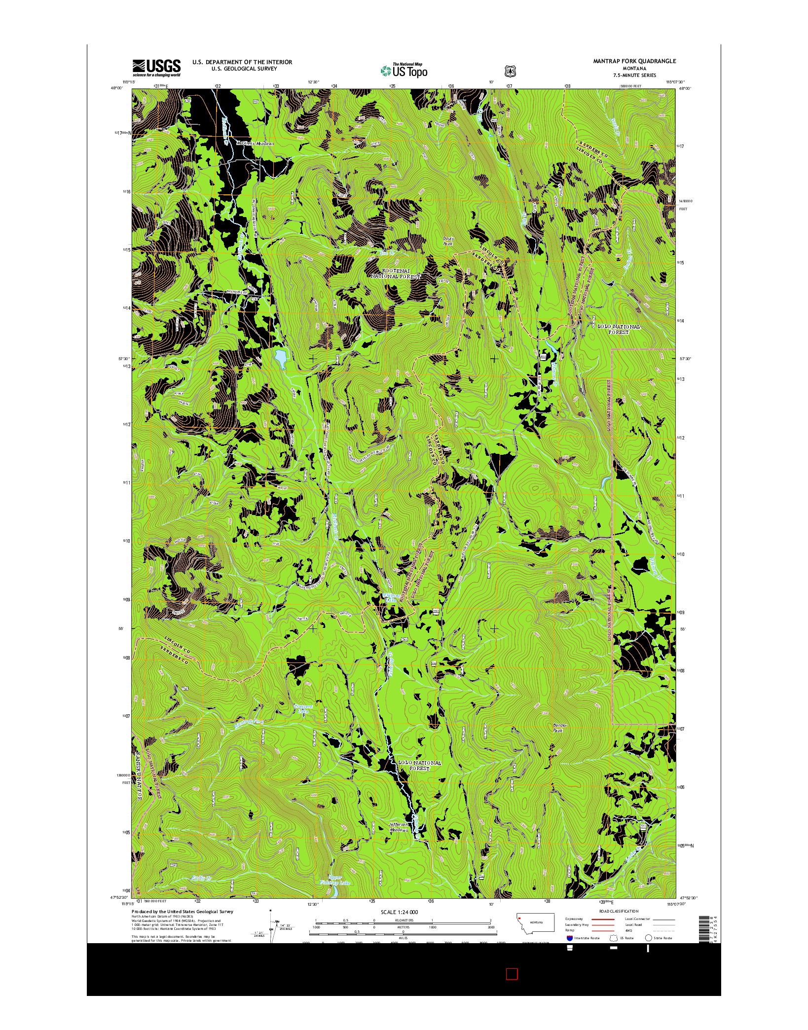 USGS US TOPO 7.5-MINUTE MAP FOR MANTRAP FORK, MT 2014