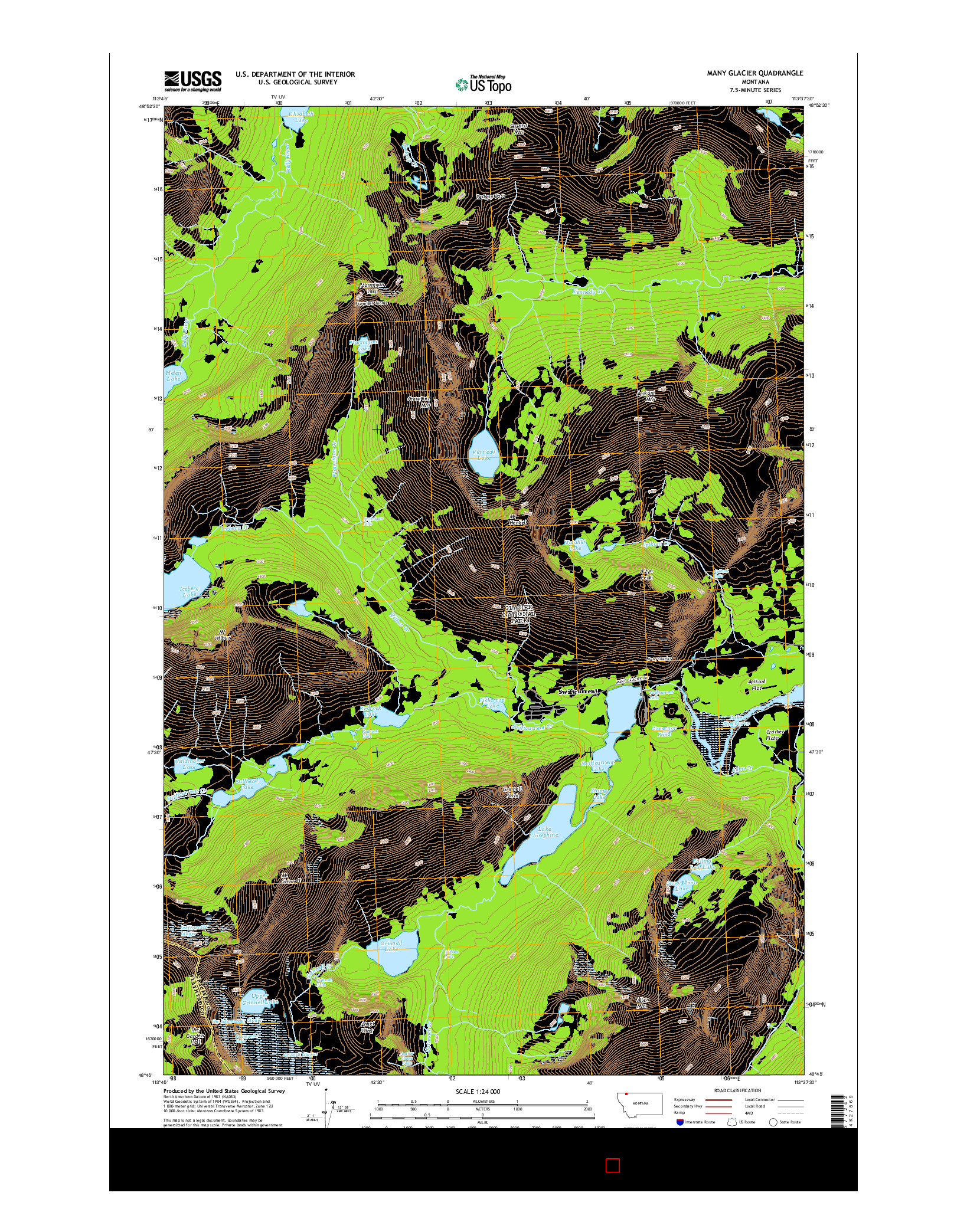 USGS US TOPO 7.5-MINUTE MAP FOR MANY GLACIER, MT 2014