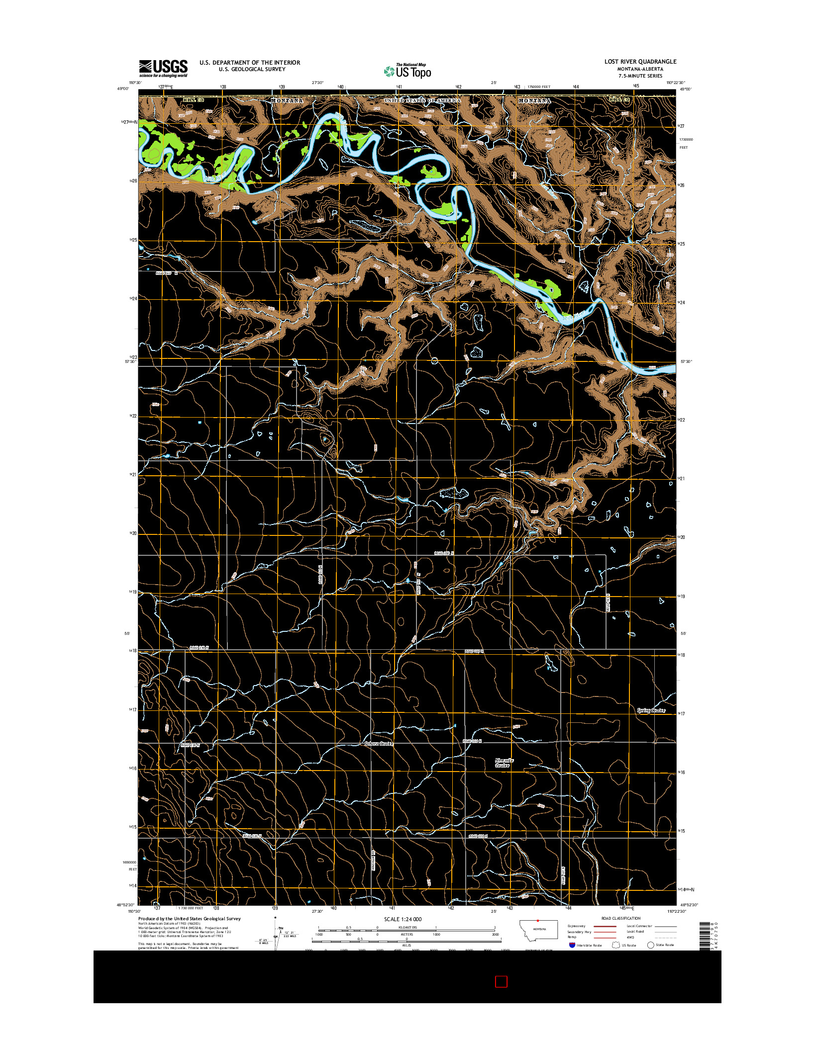 USGS US TOPO 7.5-MINUTE MAP FOR LOST RIVER, MT-AB 2014