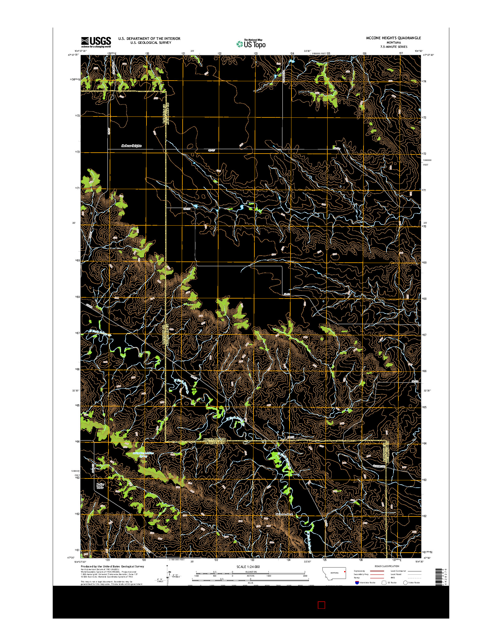 USGS US TOPO 7.5-MINUTE MAP FOR MCCONE HEIGHTS, MT 2014