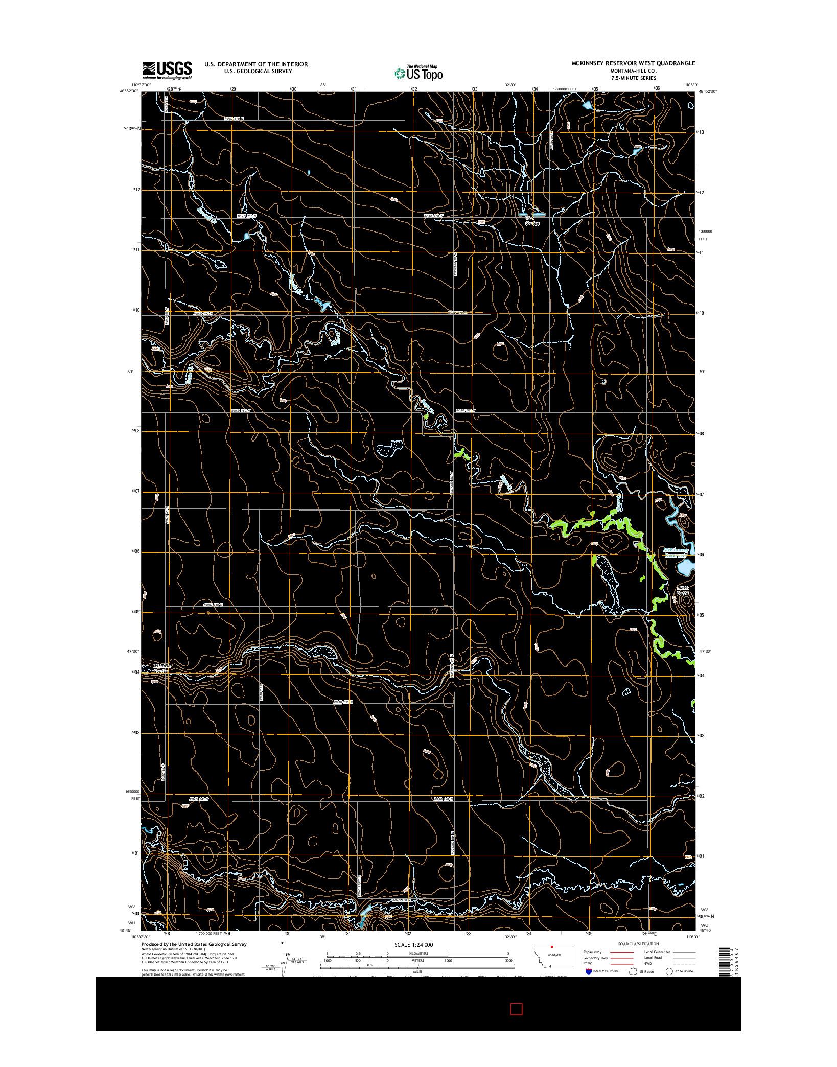 USGS US TOPO 7.5-MINUTE MAP FOR MCKINNSEY RESERVOIR WEST, MT 2014
