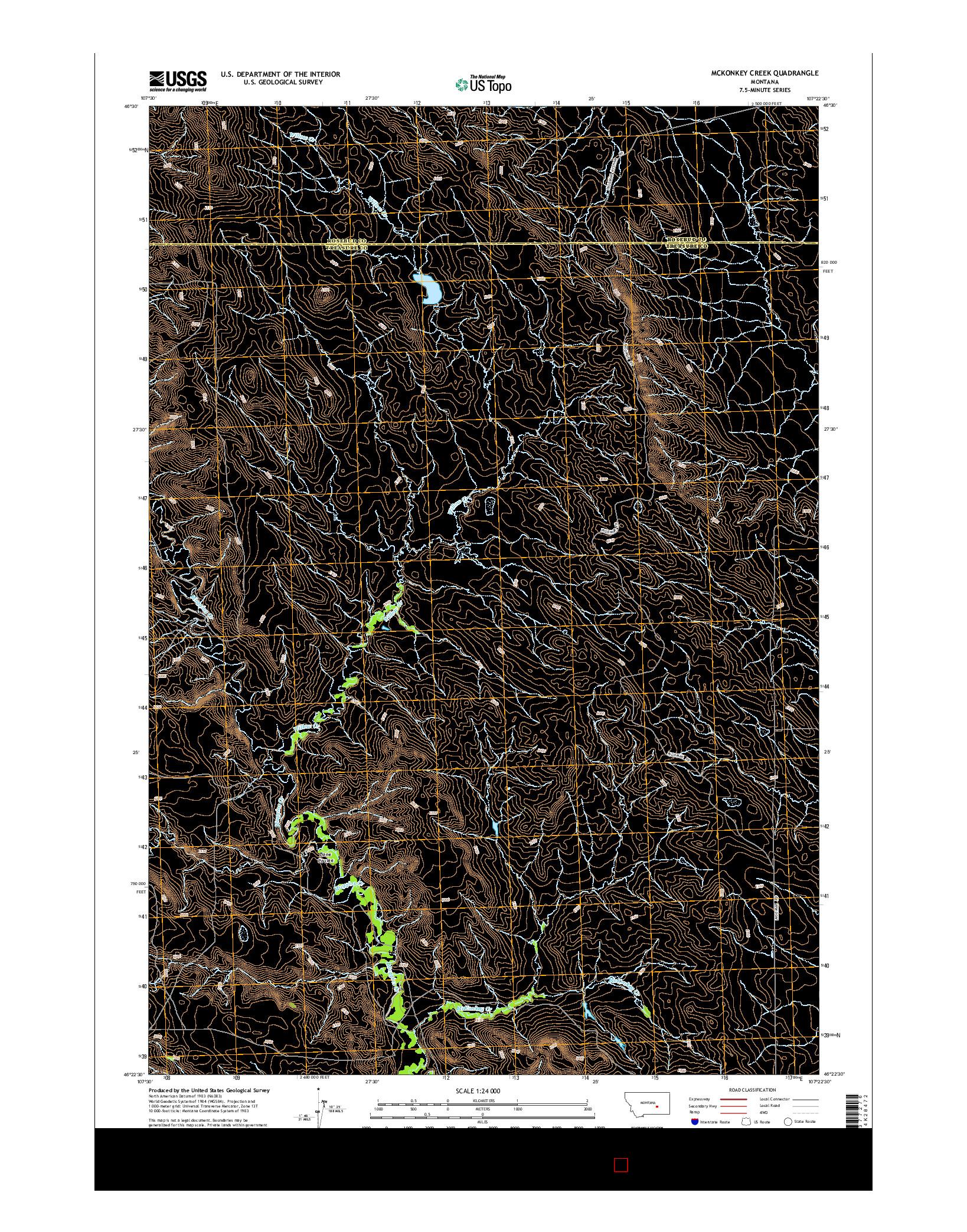 USGS US TOPO 7.5-MINUTE MAP FOR MCKONKEY CREEK, MT 2014
