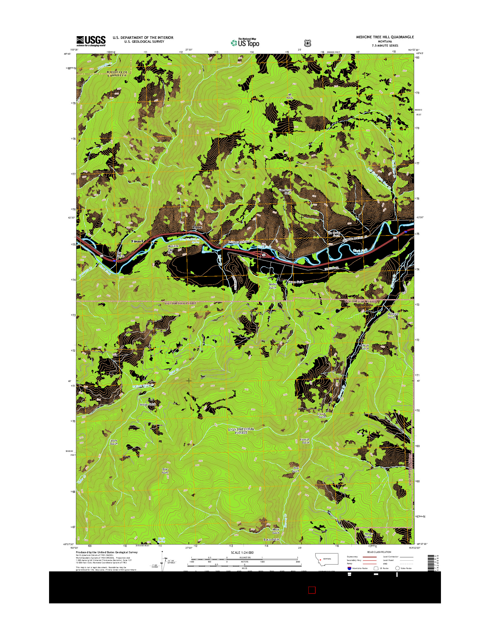 USGS US TOPO 7.5-MINUTE MAP FOR MEDICINE TREE HILL, MT 2014