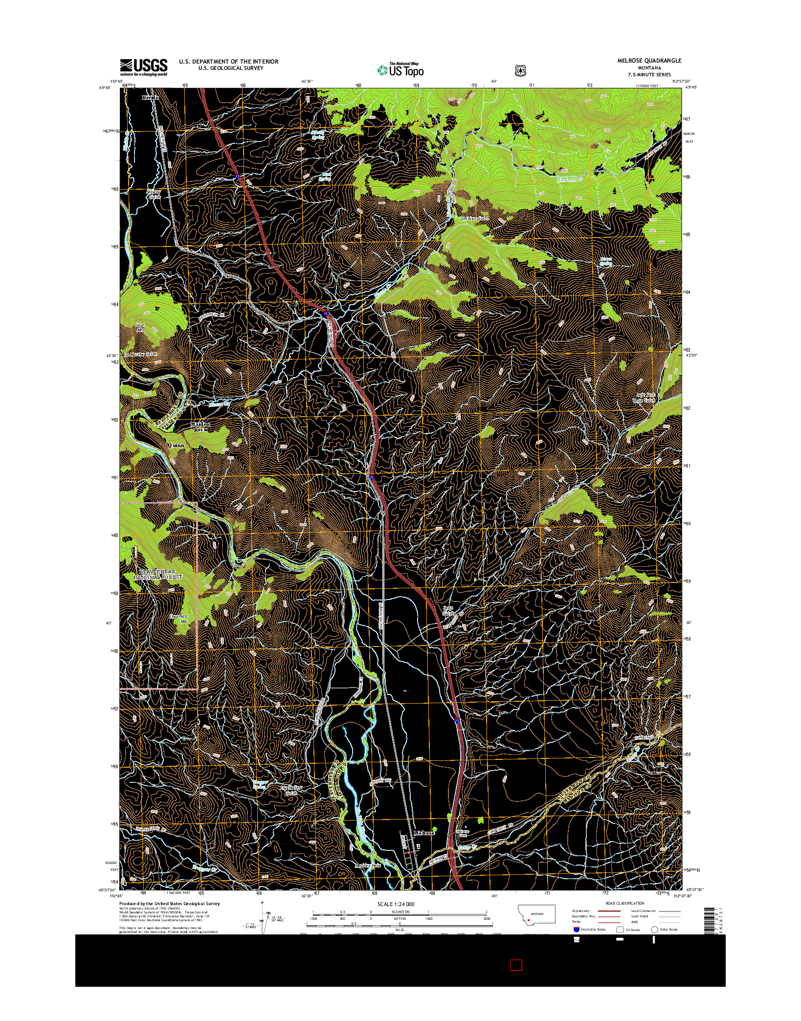 USGS US TOPO 7.5-MINUTE MAP FOR MELROSE, MT 2014
