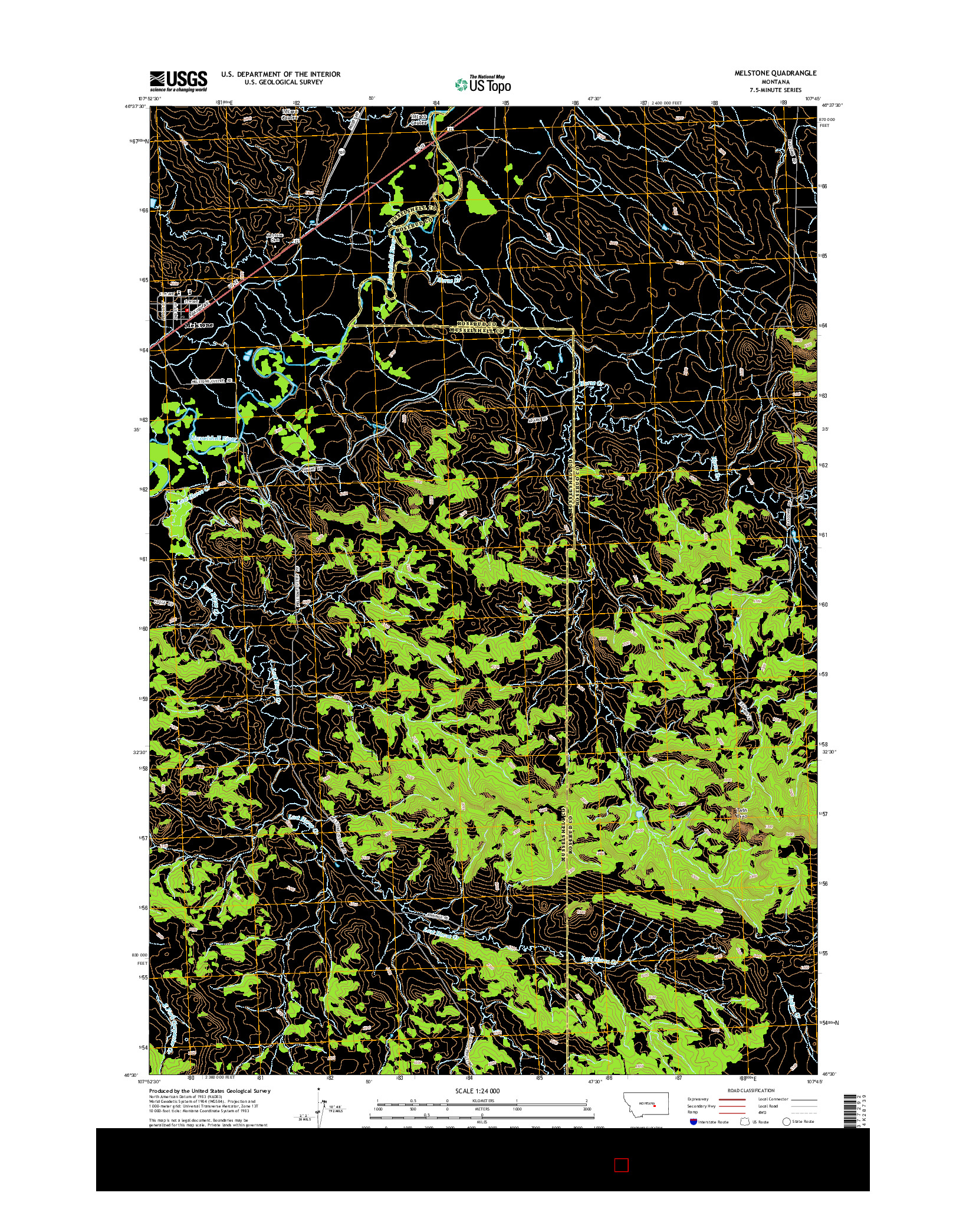 USGS US TOPO 7.5-MINUTE MAP FOR MELSTONE, MT 2014