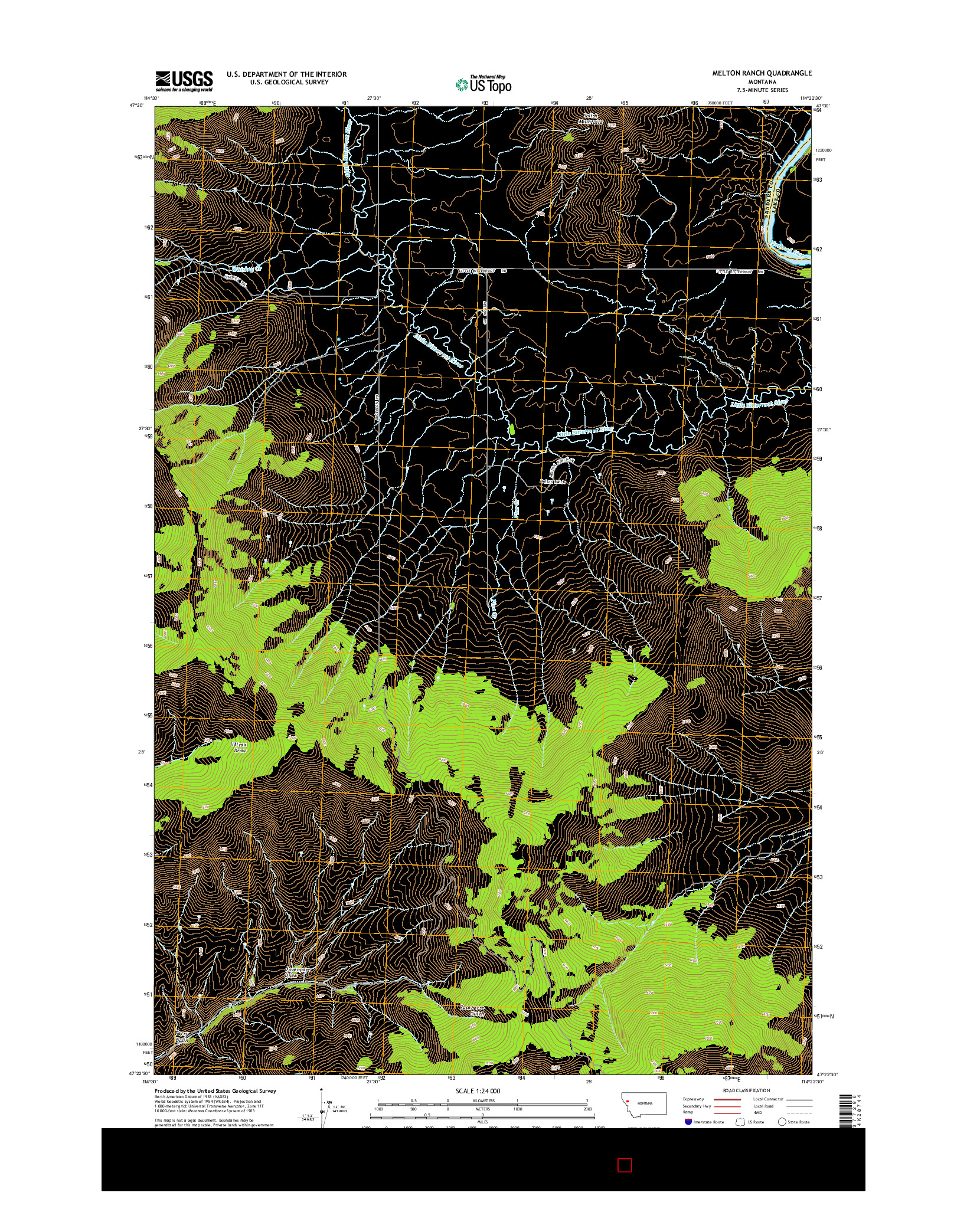 USGS US TOPO 7.5-MINUTE MAP FOR MELTON RANCH, MT 2014