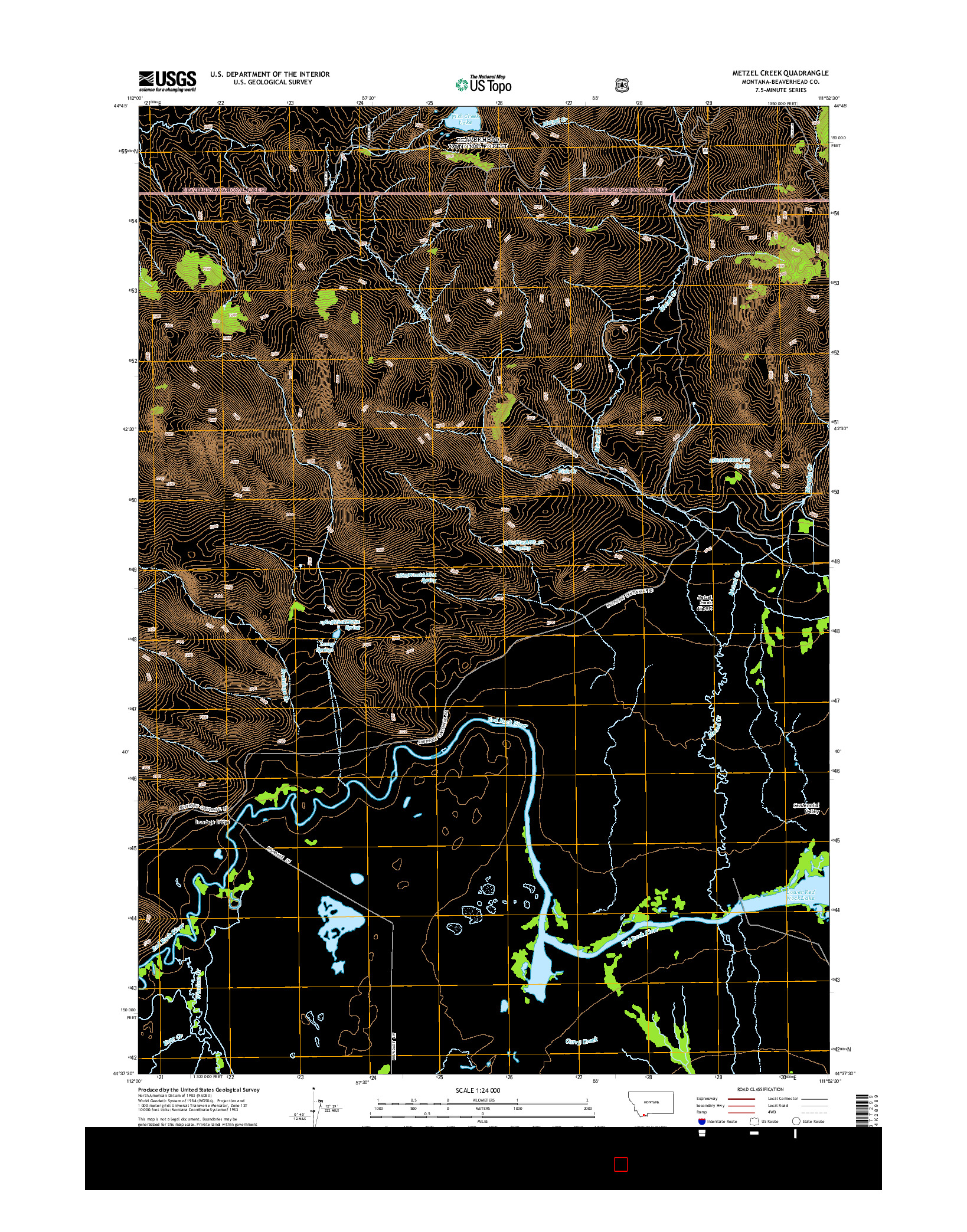 USGS US TOPO 7.5-MINUTE MAP FOR METZEL CREEK, MT 2014