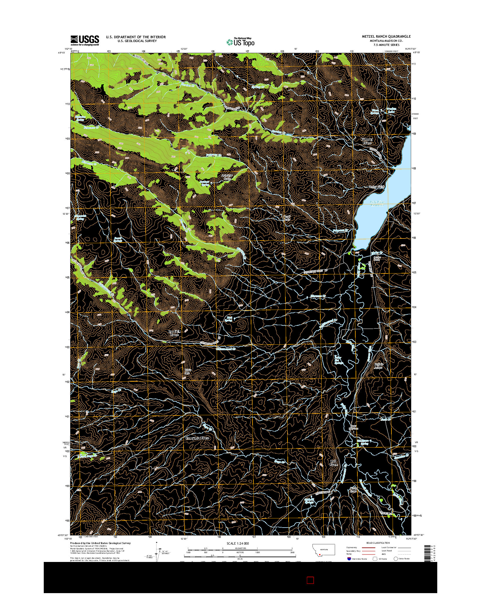 USGS US TOPO 7.5-MINUTE MAP FOR METZEL RANCH, MT 2014
