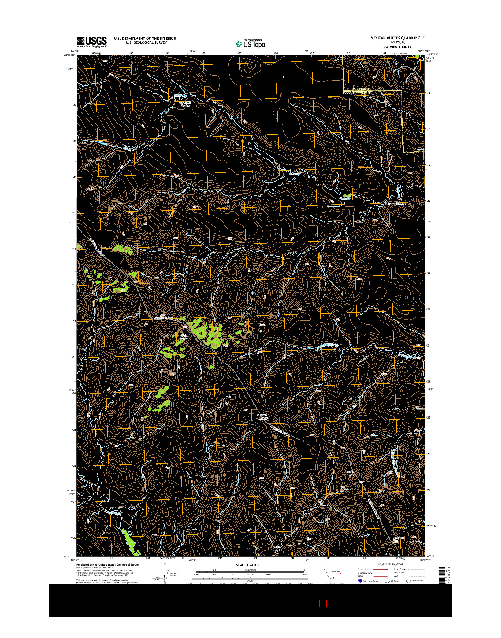 USGS US TOPO 7.5-MINUTE MAP FOR MEXICAN BUTTES, MT 2014