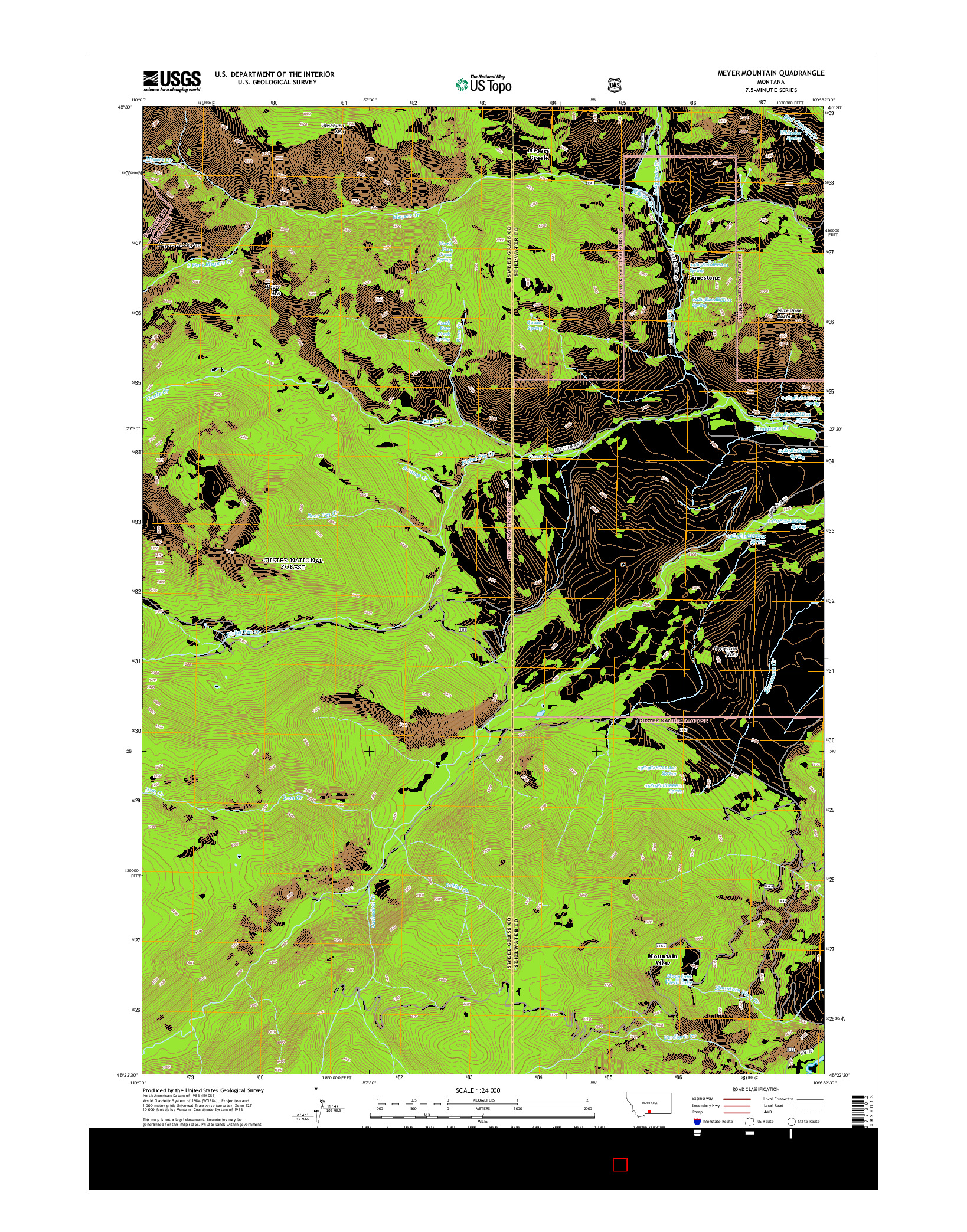 USGS US TOPO 7.5-MINUTE MAP FOR MEYER MOUNTAIN, MT 2014