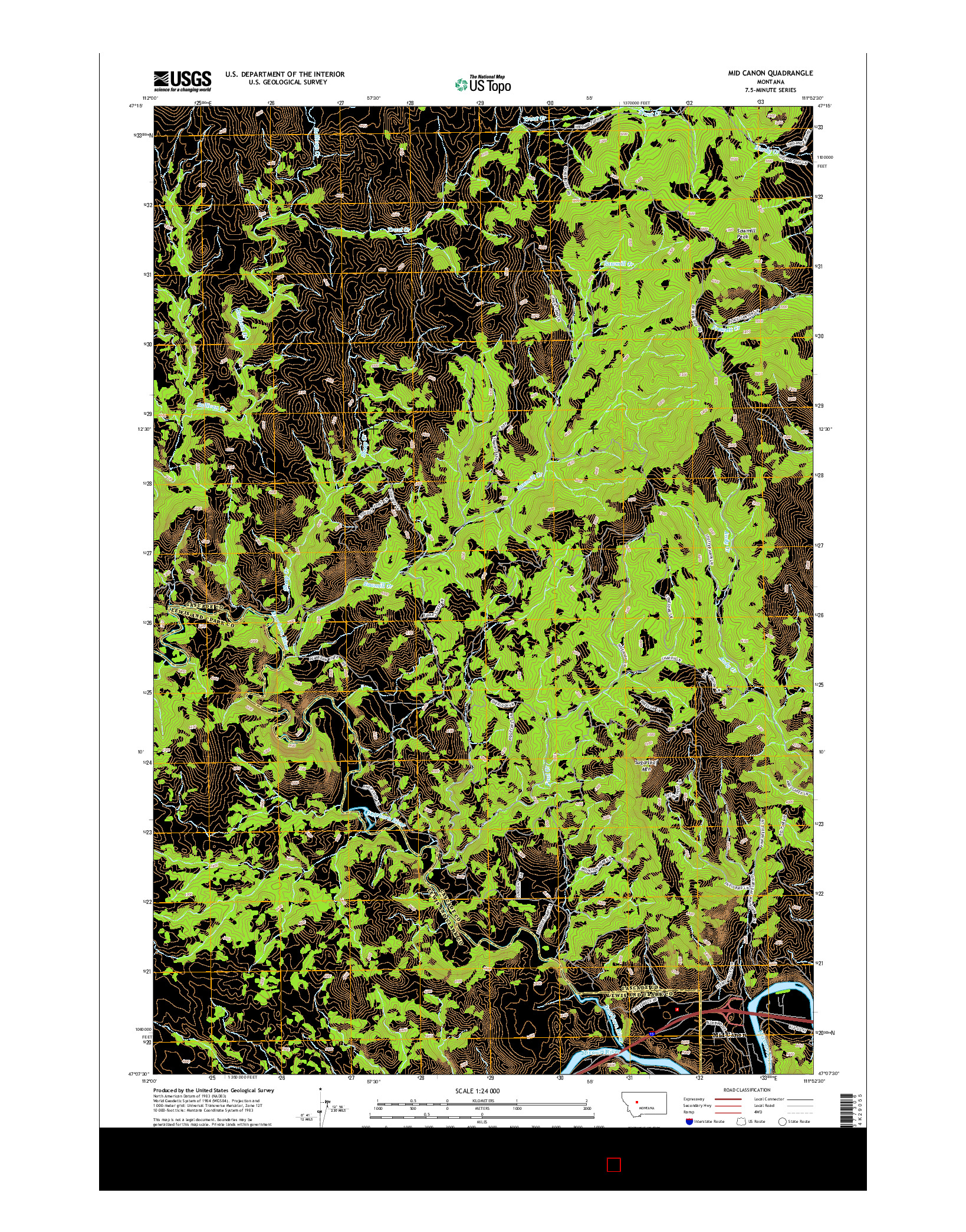 USGS US TOPO 7.5-MINUTE MAP FOR MID CANON, MT 2014