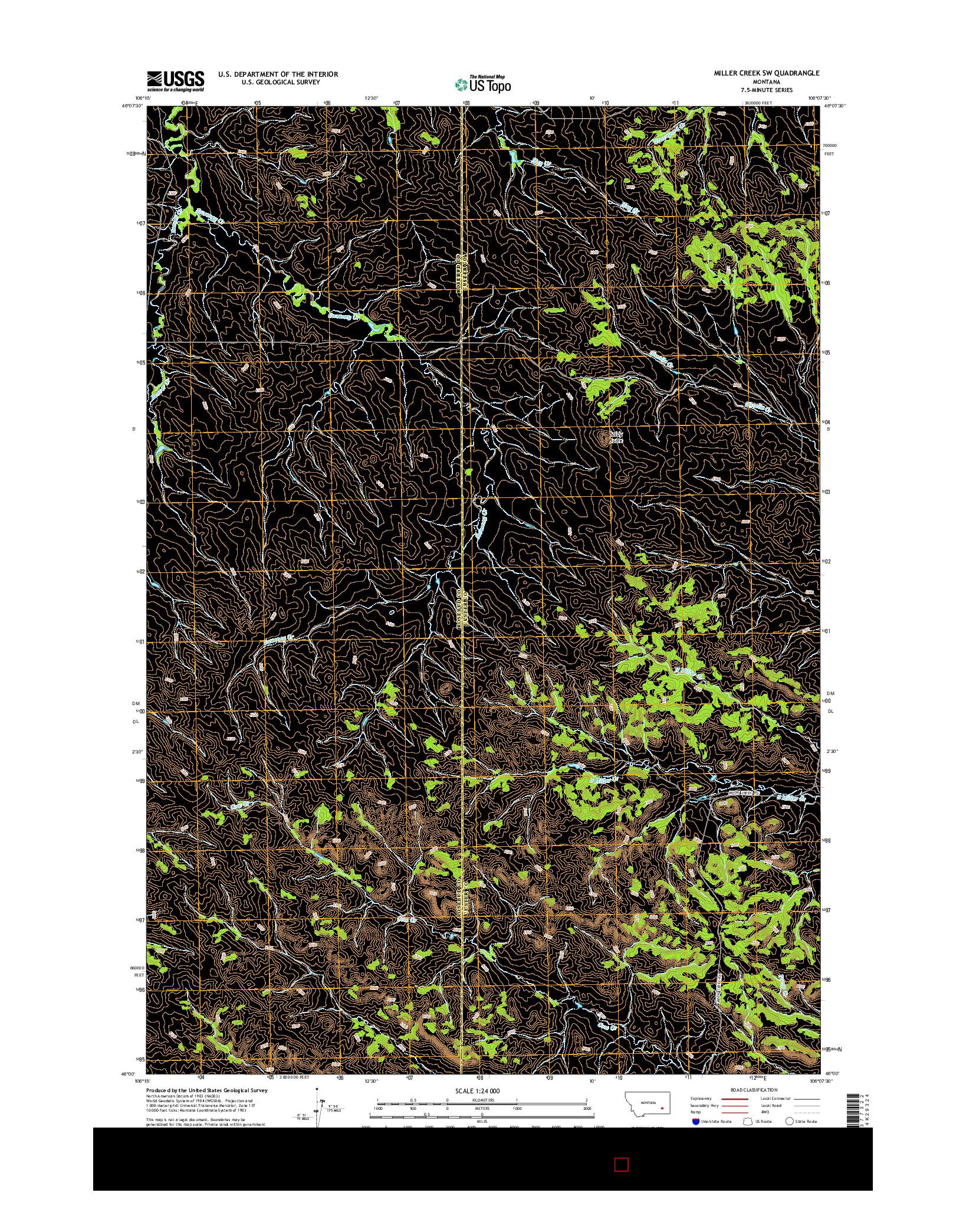 USGS US TOPO 7.5-MINUTE MAP FOR MILLER CREEK SW, MT 2014
