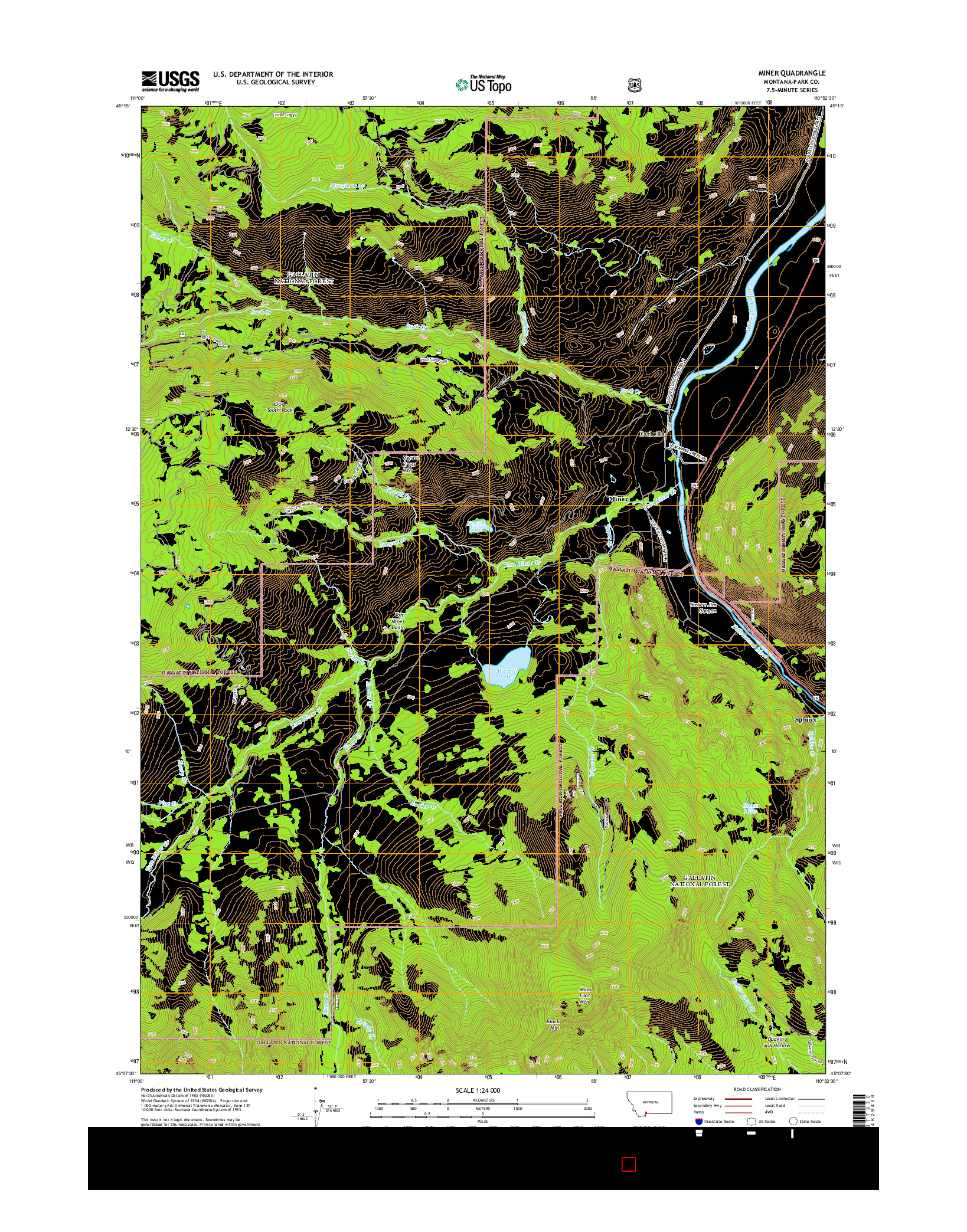 USGS US TOPO 7.5-MINUTE MAP FOR MINER, MT 2014