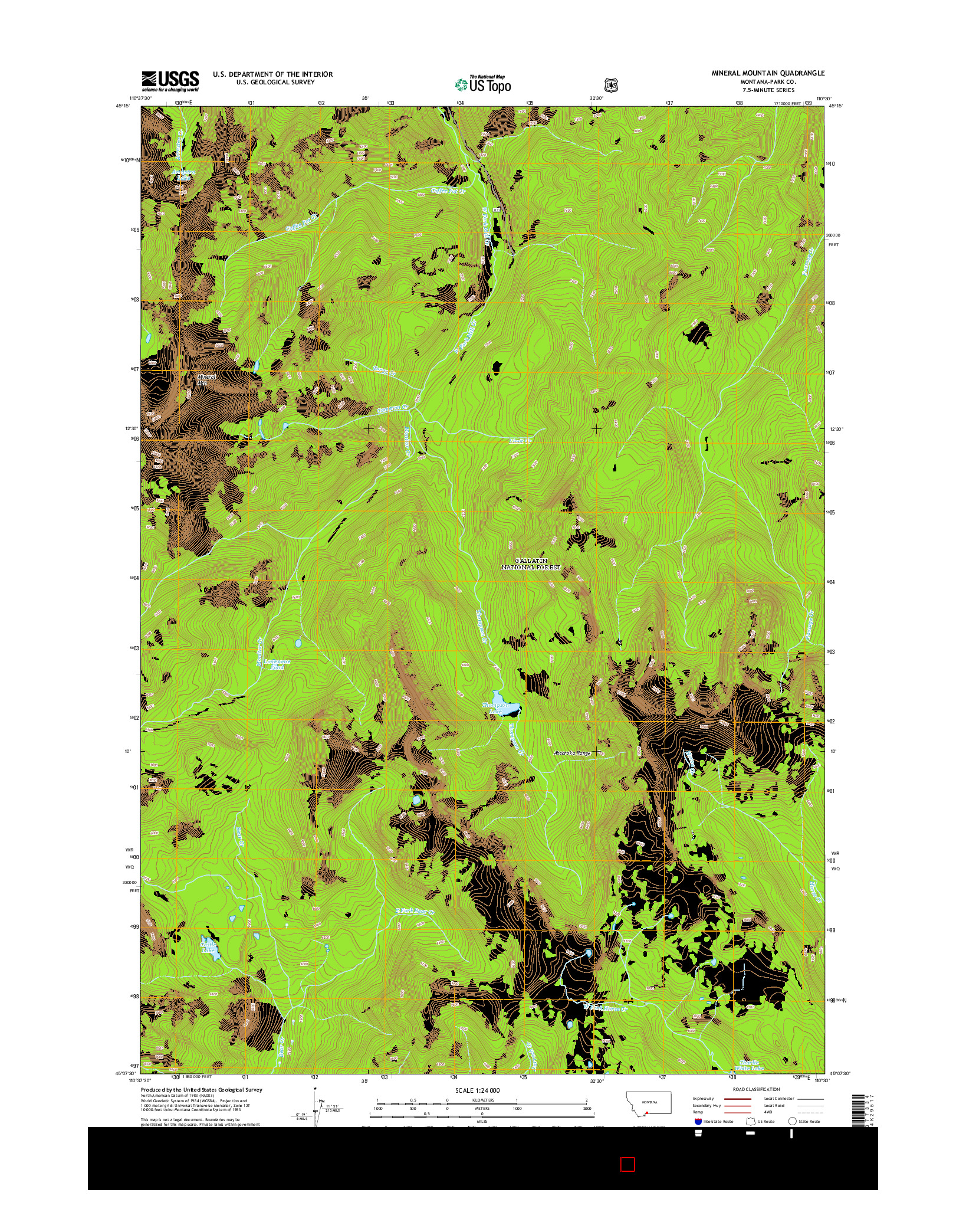 USGS US TOPO 7.5-MINUTE MAP FOR MINERAL MOUNTAIN, MT 2014