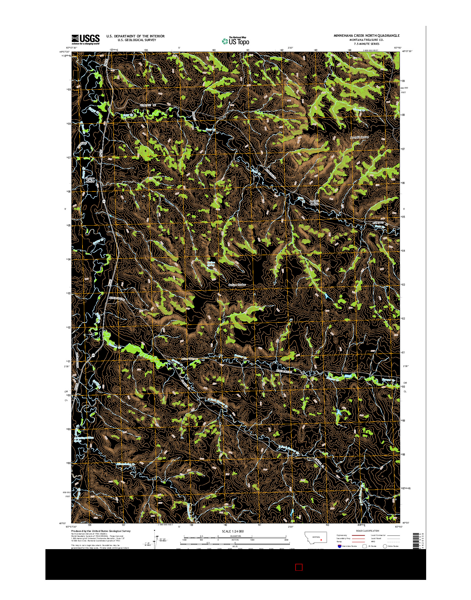 USGS US TOPO 7.5-MINUTE MAP FOR MINNEHAHA CREEK NORTH, MT 2014