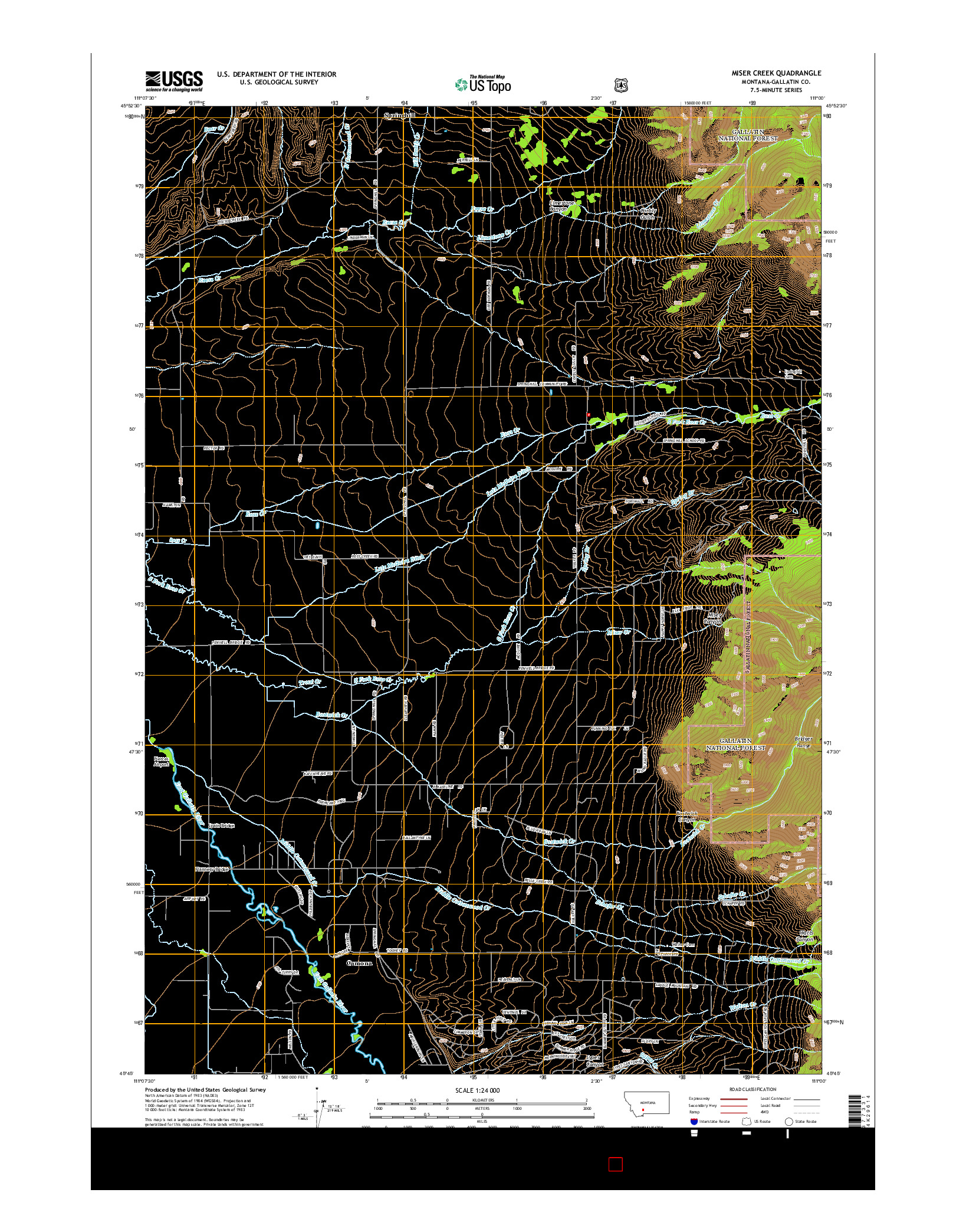 USGS US TOPO 7.5-MINUTE MAP FOR MISER CREEK, MT 2014