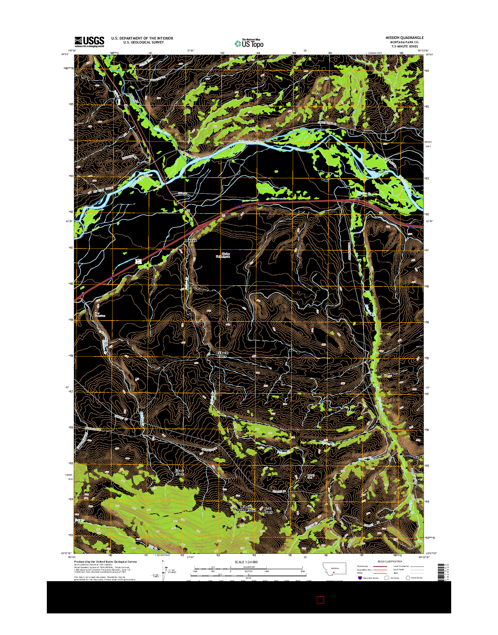 USGS US TOPO 7.5-MINUTE MAP FOR MISSION, MT 2014