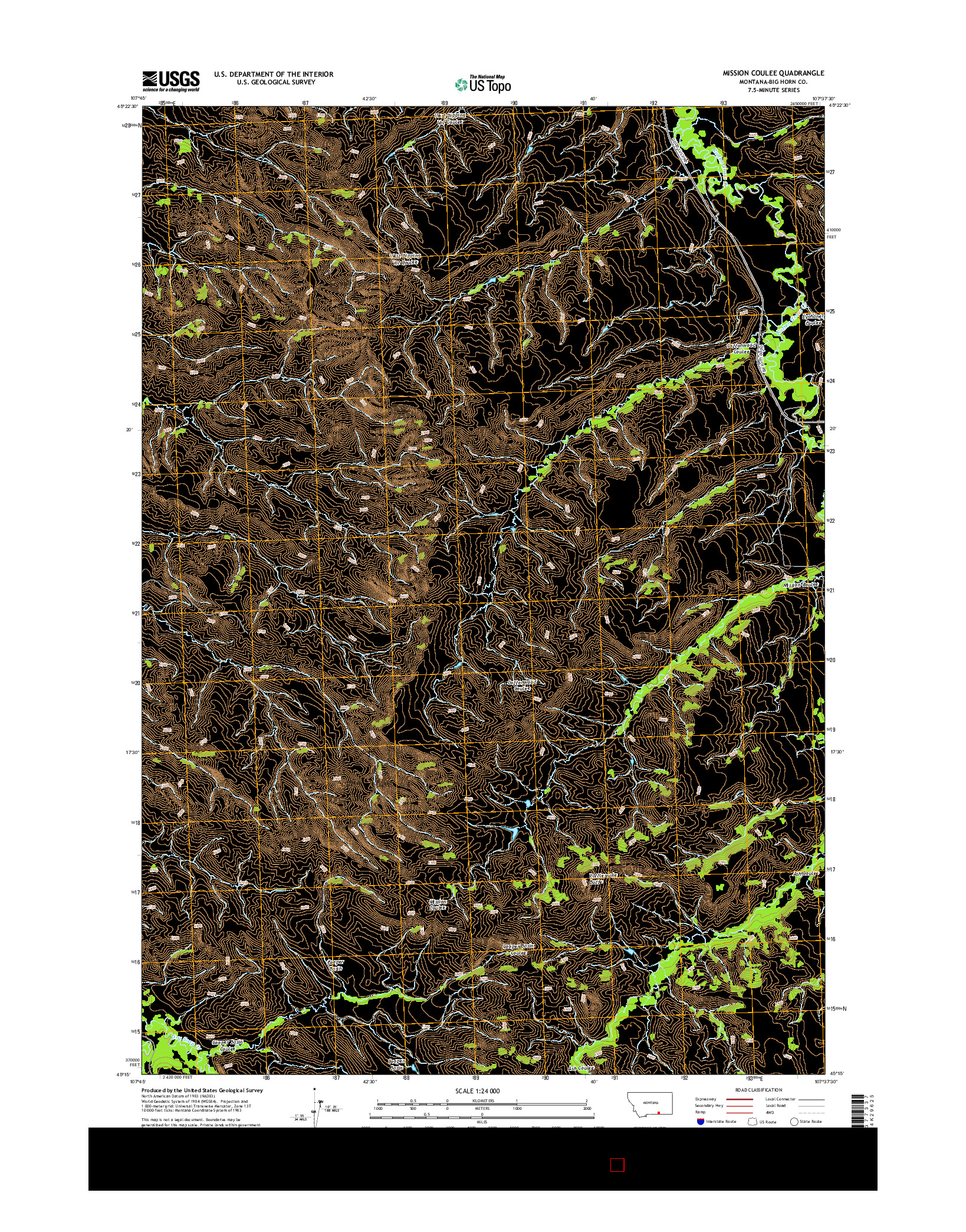 USGS US TOPO 7.5-MINUTE MAP FOR MISSION COULEE, MT 2014